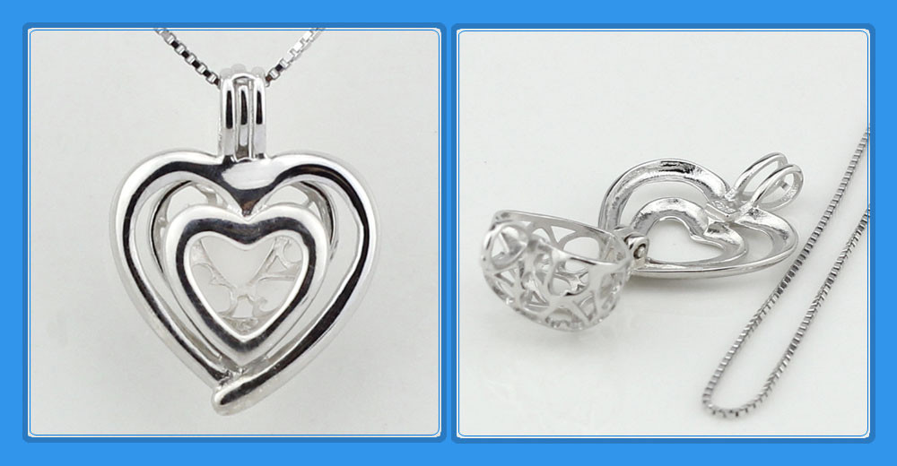 Double Love 925 Sterling Silver Heart Cage Pendant Necklace for Loose Pearl - acs3
