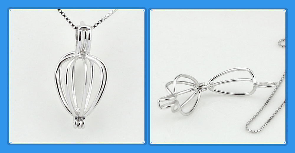 925 Silver Heart Cage Pendant Necklace for Wish Pearl  - acs5