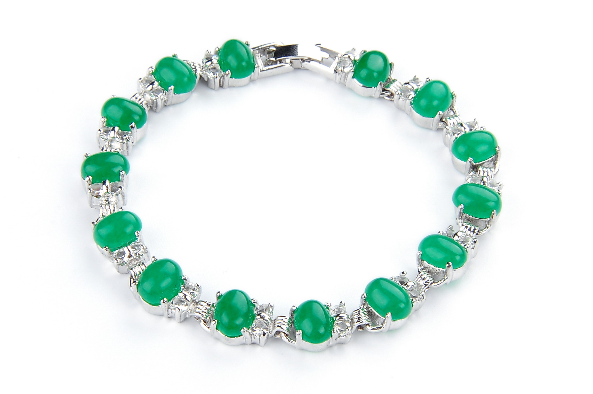Simulated Green Jade Tenis Bracelet -br-cs6