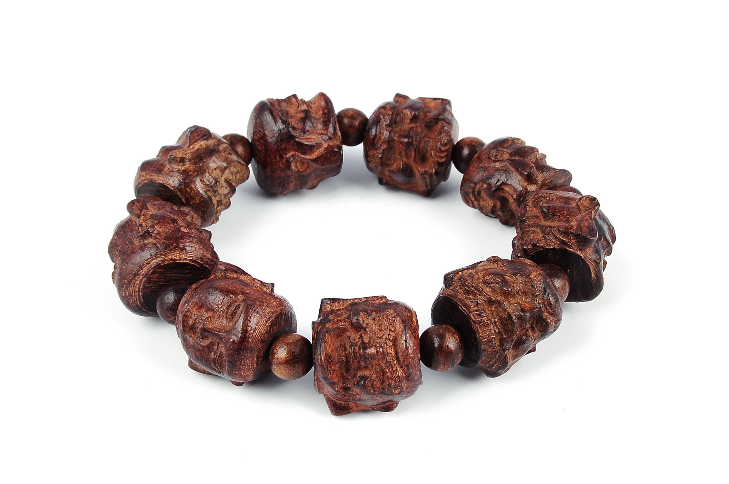 Elastic 20mm Hand Carved Agarwood Eaglewood Chenxiang Beaded Bracelet (???) - br-cx5
