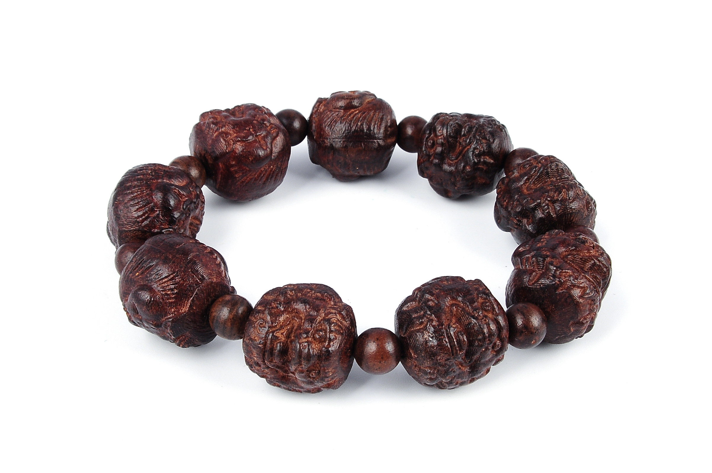20mm Hand Engraved Agarwood Eaglewood Chenxiang Beaded Bracelet ???? br-cx9