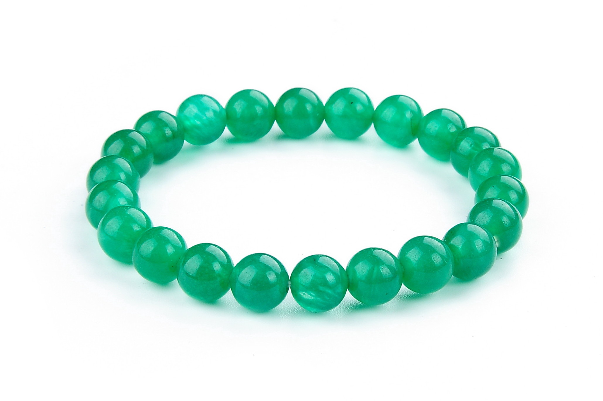 8.5 mm Elastic Green Malay Jade Bracelet  - br-jd6