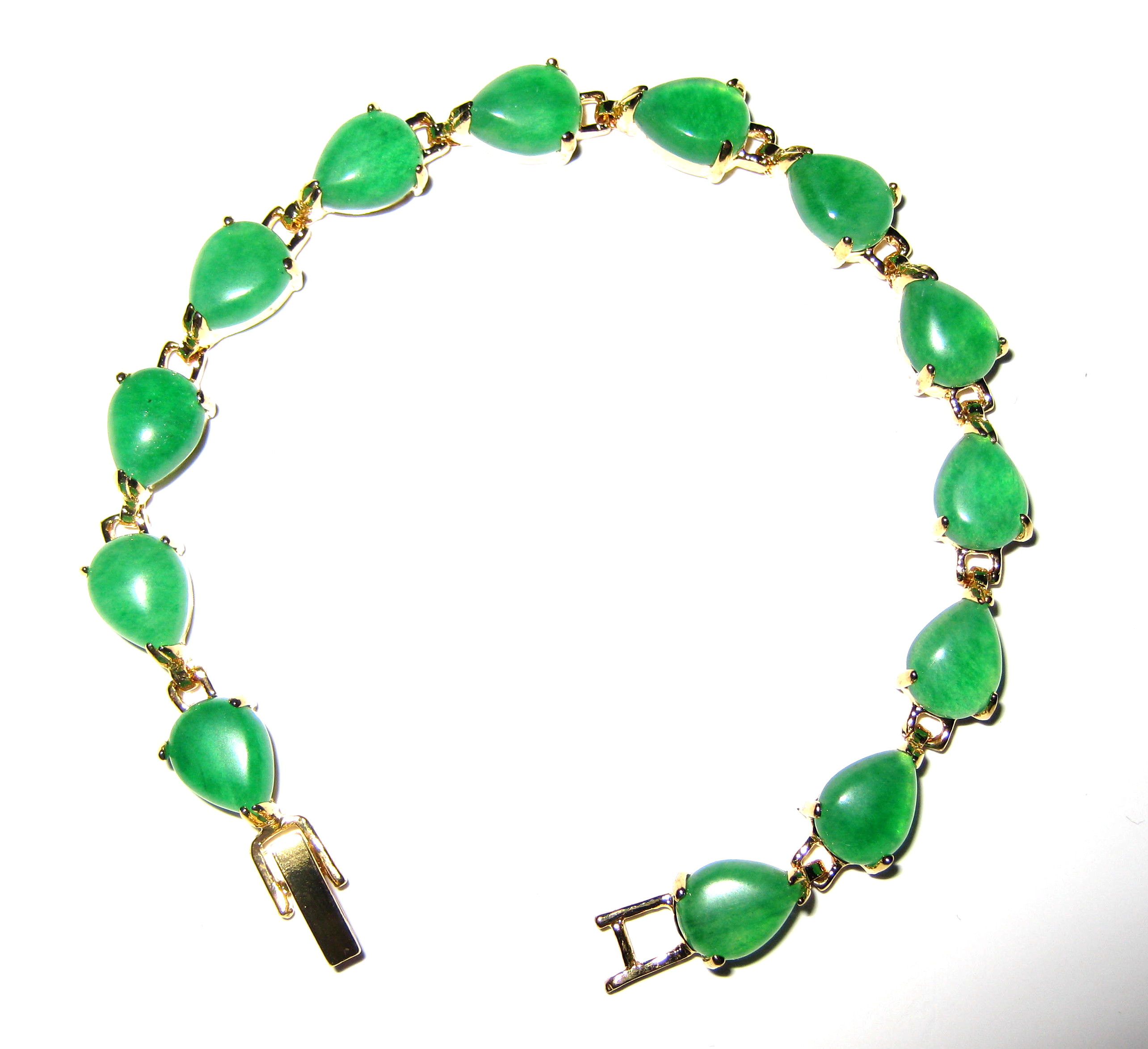 Yellow Gold Plated Green Malay Jade Heart Shaped Tennis Bracelet  - br-jd7