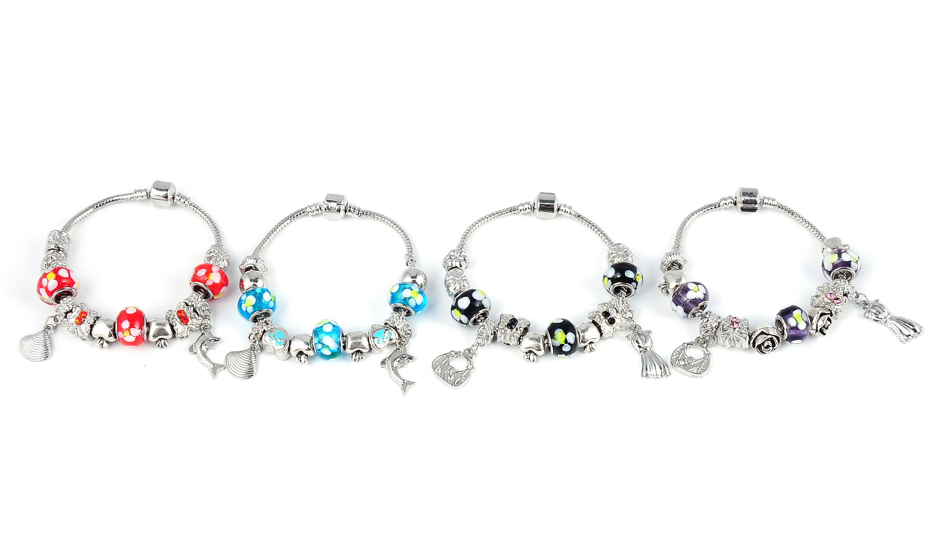 4 pieces of Fashionable Crystal Bead Charm Bracelets - red/black/purple/blue - f-br6-4