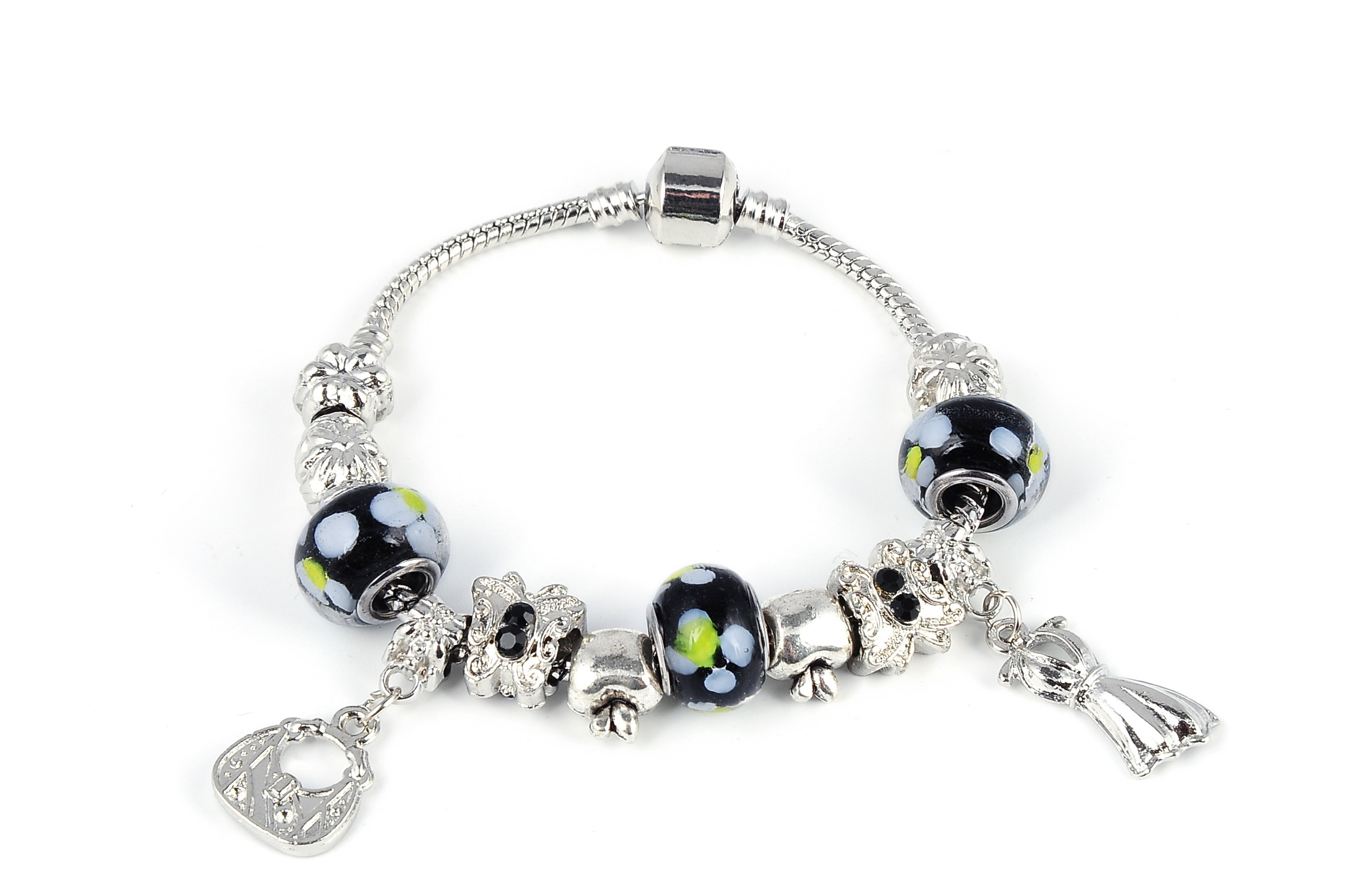Fashionable Crystal Bead Charm Bracelet - various colors - f-br6