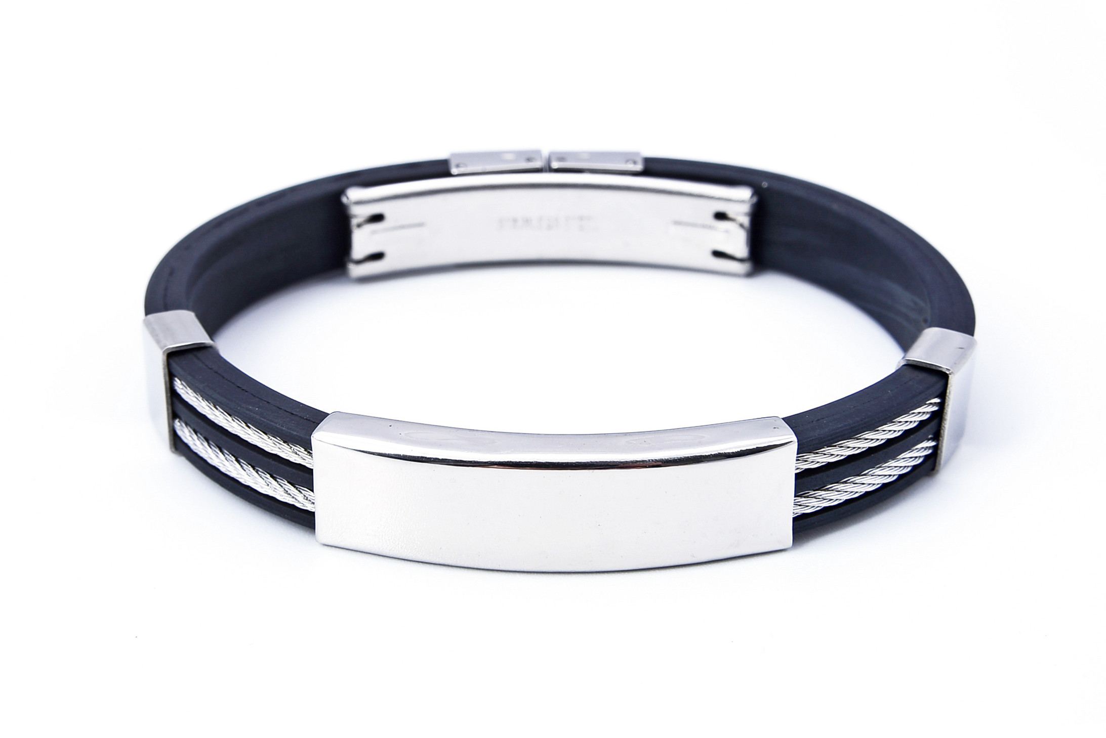 Stainless Steel Rubber Wrist Band Bracelet - f-br8