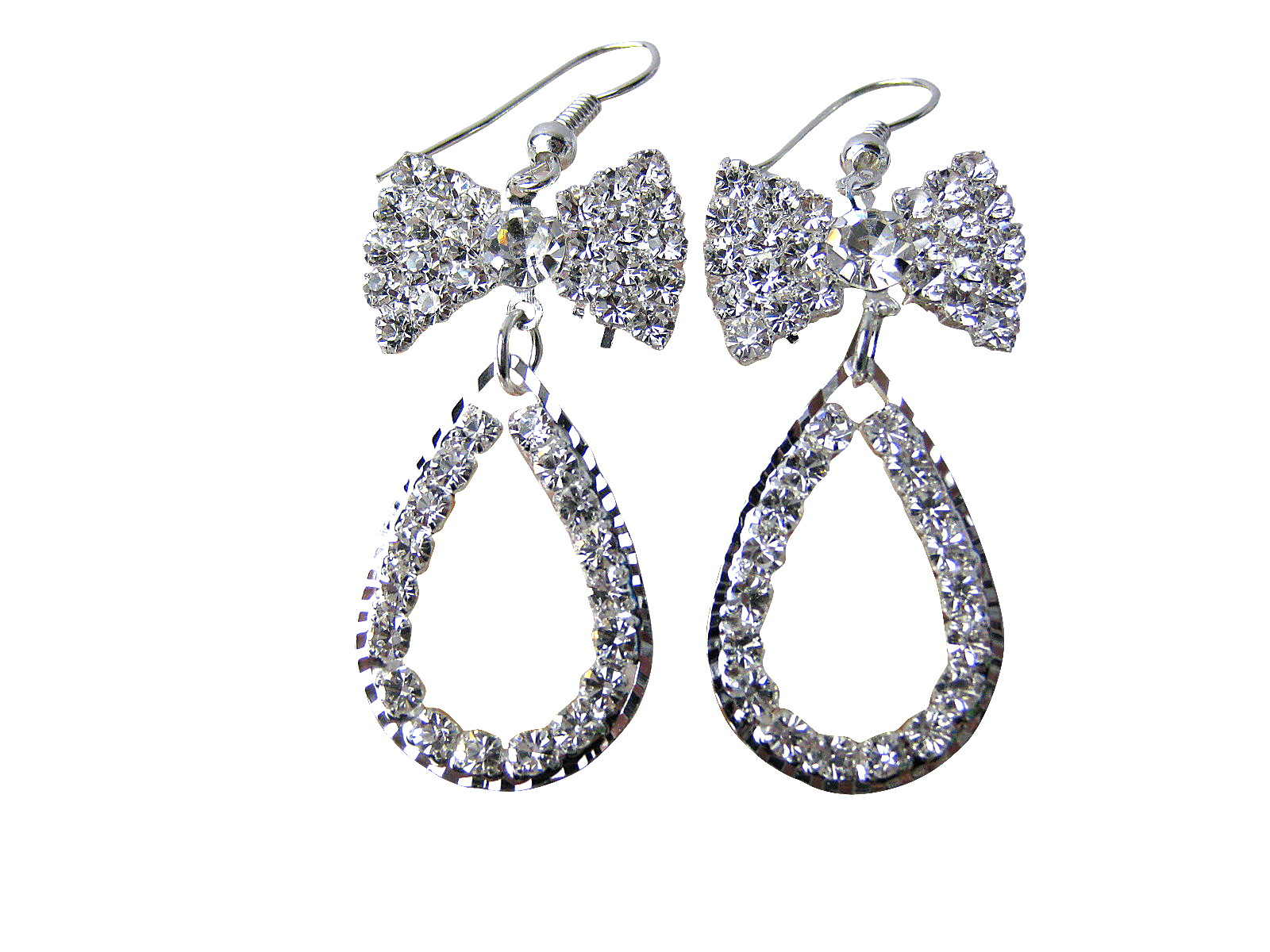Austrian Clear Crystal Pear Shape Dangle Earrings - f-er10