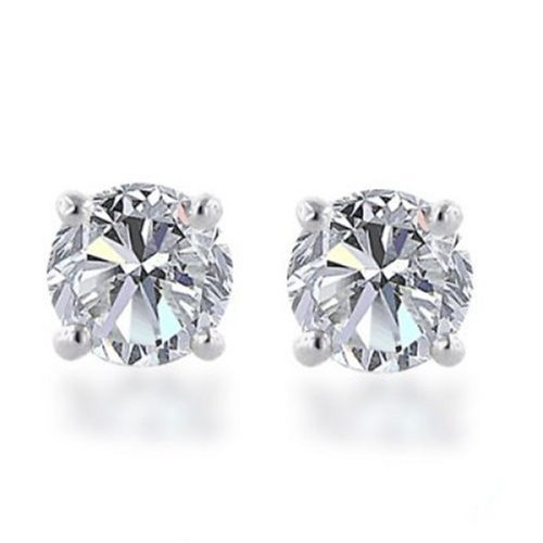 Stainless Steel Cubic Zircon Stud Earrings various colors - f-er11