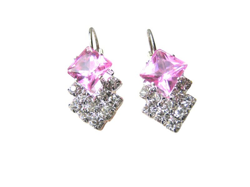 Austrian Crystal Leverback Earrings - Various colors - f-er7