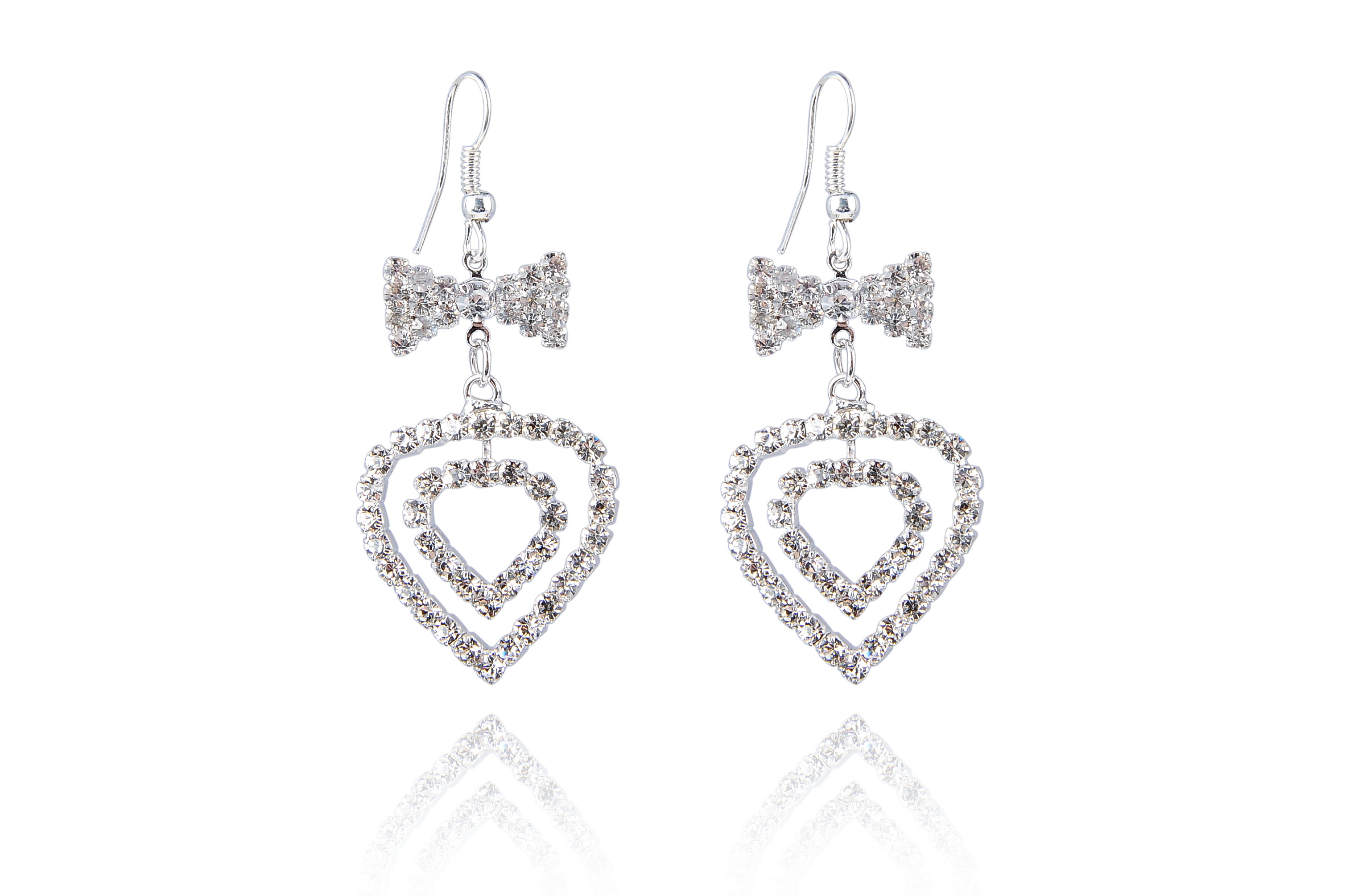 Austrian Clear Crystal Heart In Heart Dangle Earrings - f-er9