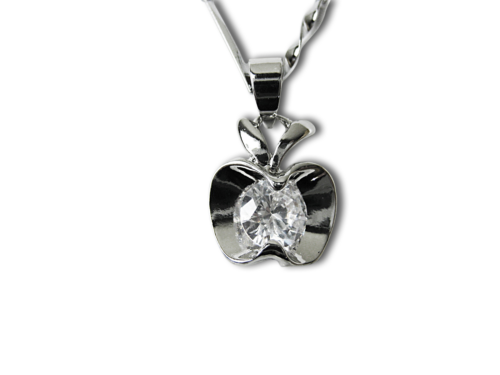 Austrian Crystal  Apple Pendant Necklace - f-nk3