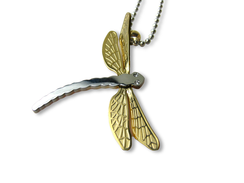 Stainless Steel Dragonfly Pendant Necklace -f-nk7