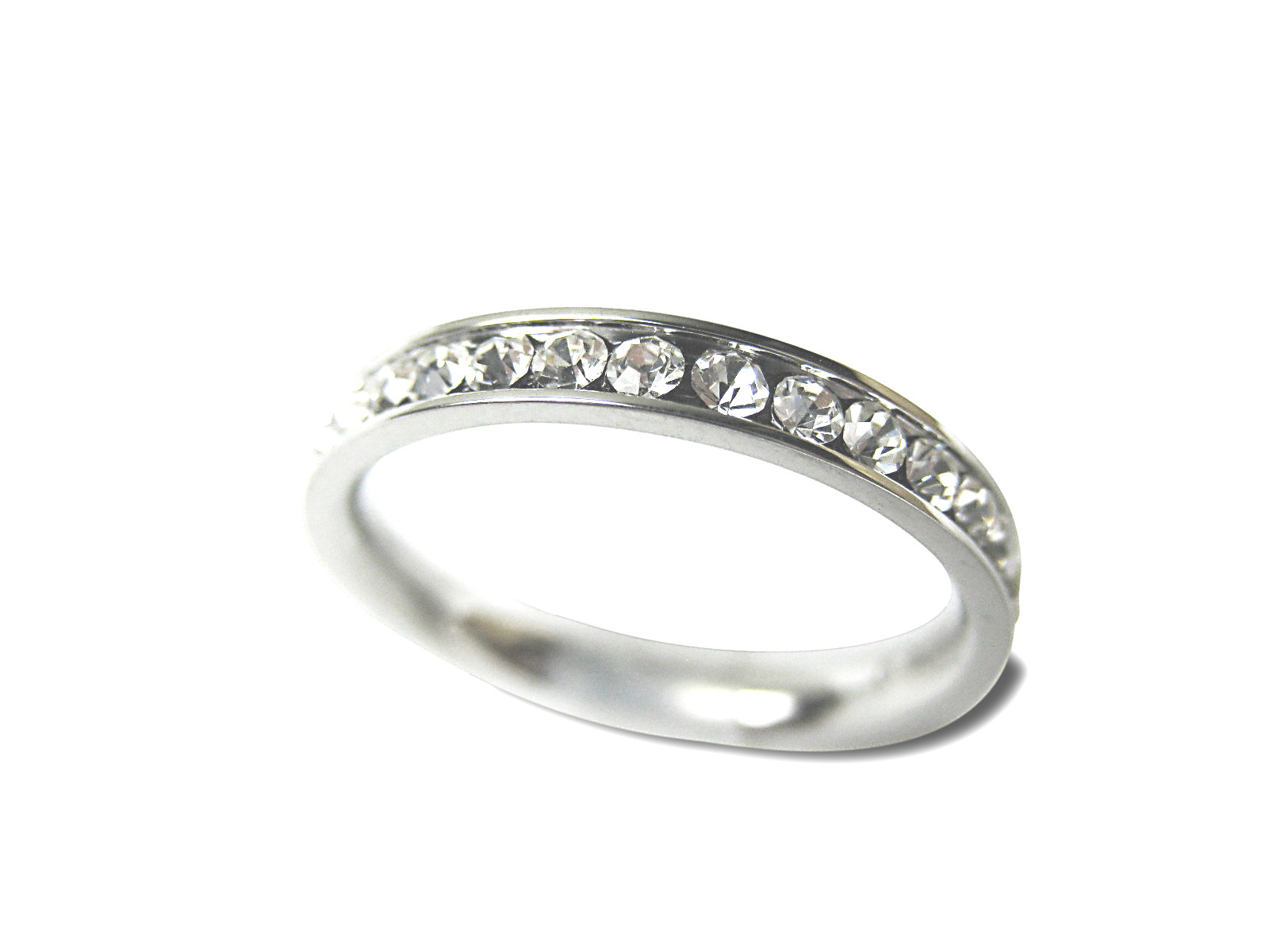 Stainless Steel Diamond Cz Eternity Wedding Band Ring - f-rg2