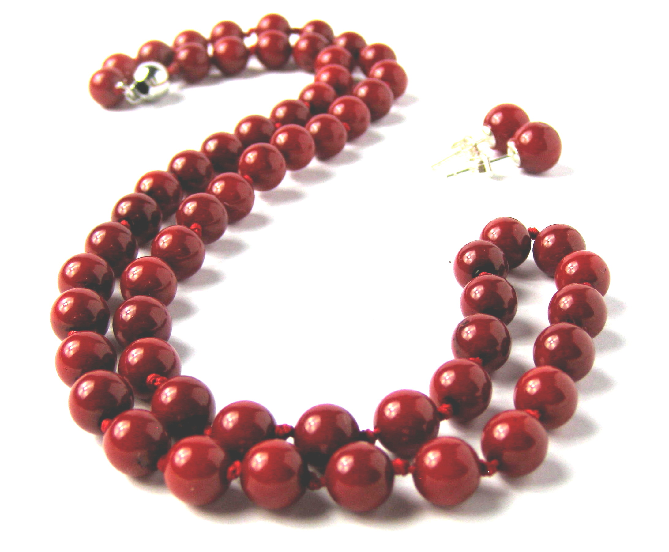 7.5mm Round Red Coral Bead Necklace Earring Set -ne-cr1