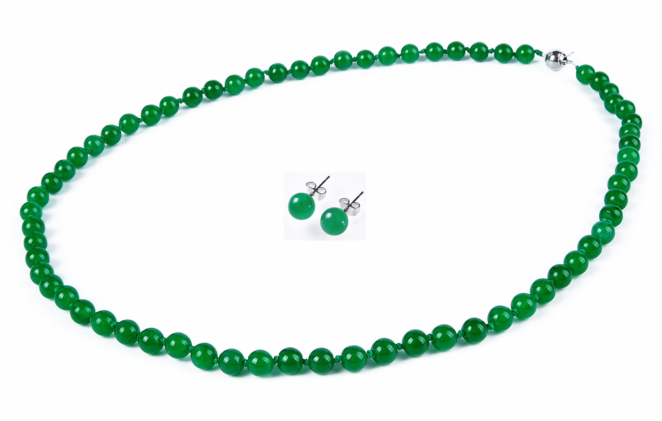 6mm Round Malay Green Jade Necklace Earring Set 19