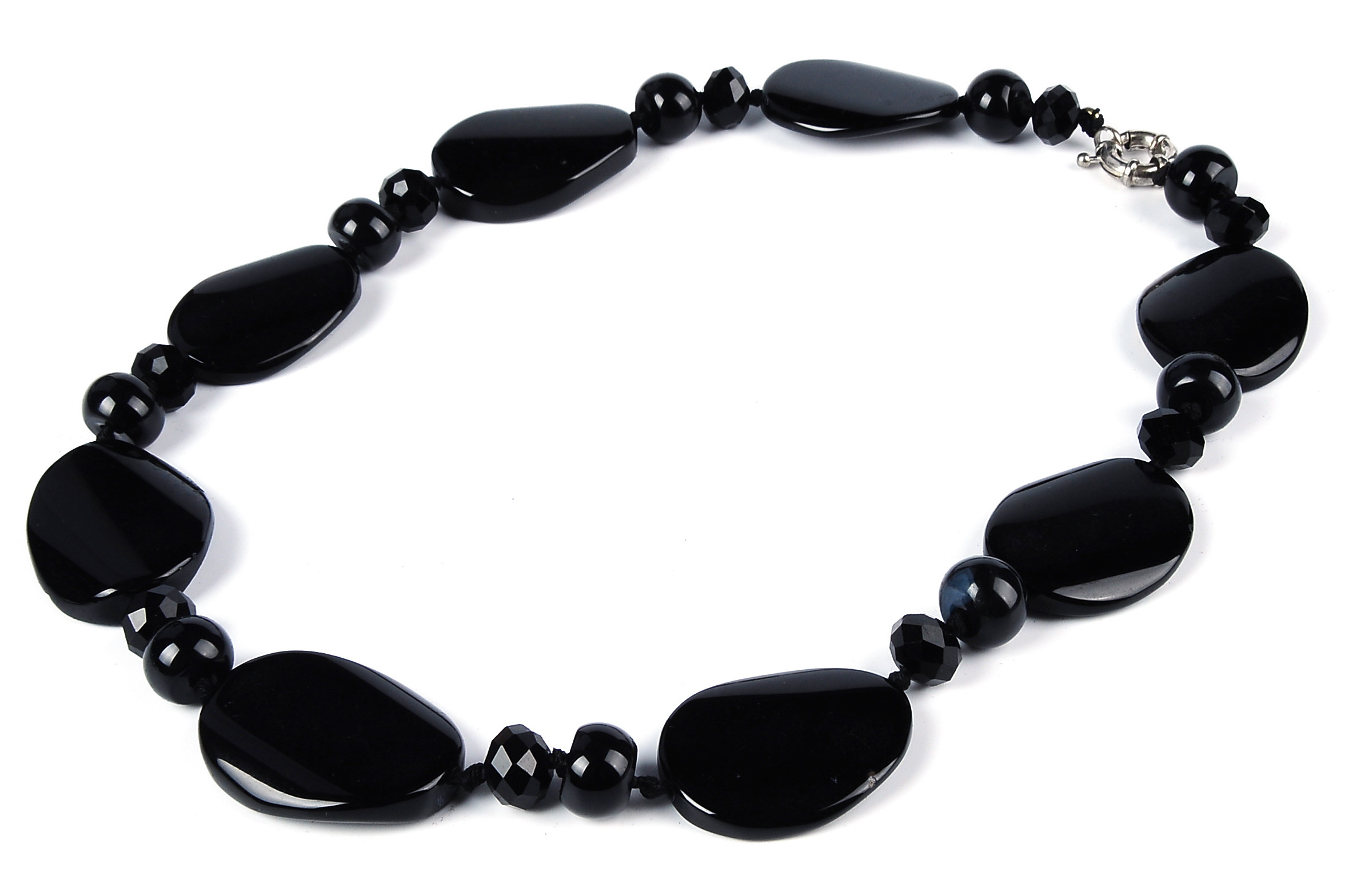 Huge 40X30 mm Black Agate Necklace -nk-ag3