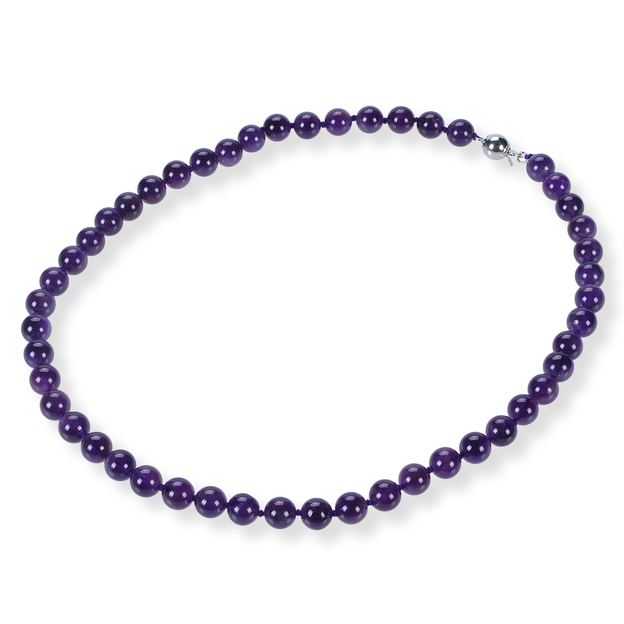 8.5 mm Round Natural Brazil Amethyst Strand Necklace -nk-am9