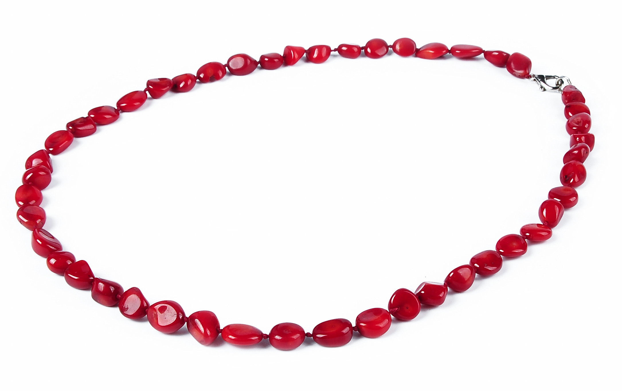 Red Coral Chip Necklace -nk-cr10