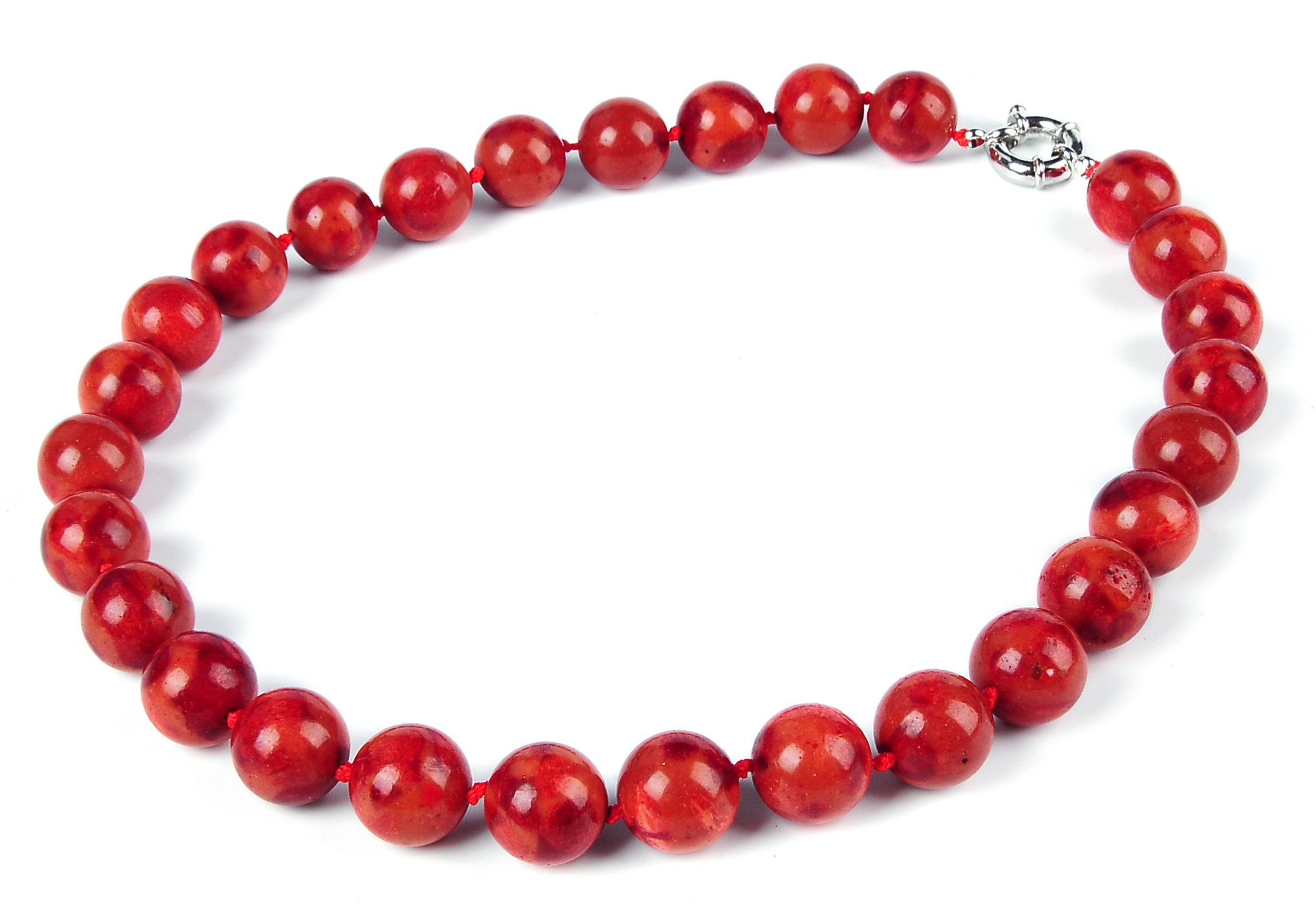 Large 14.5mm Round Red Sponge Coral Necklace -nk-cr8