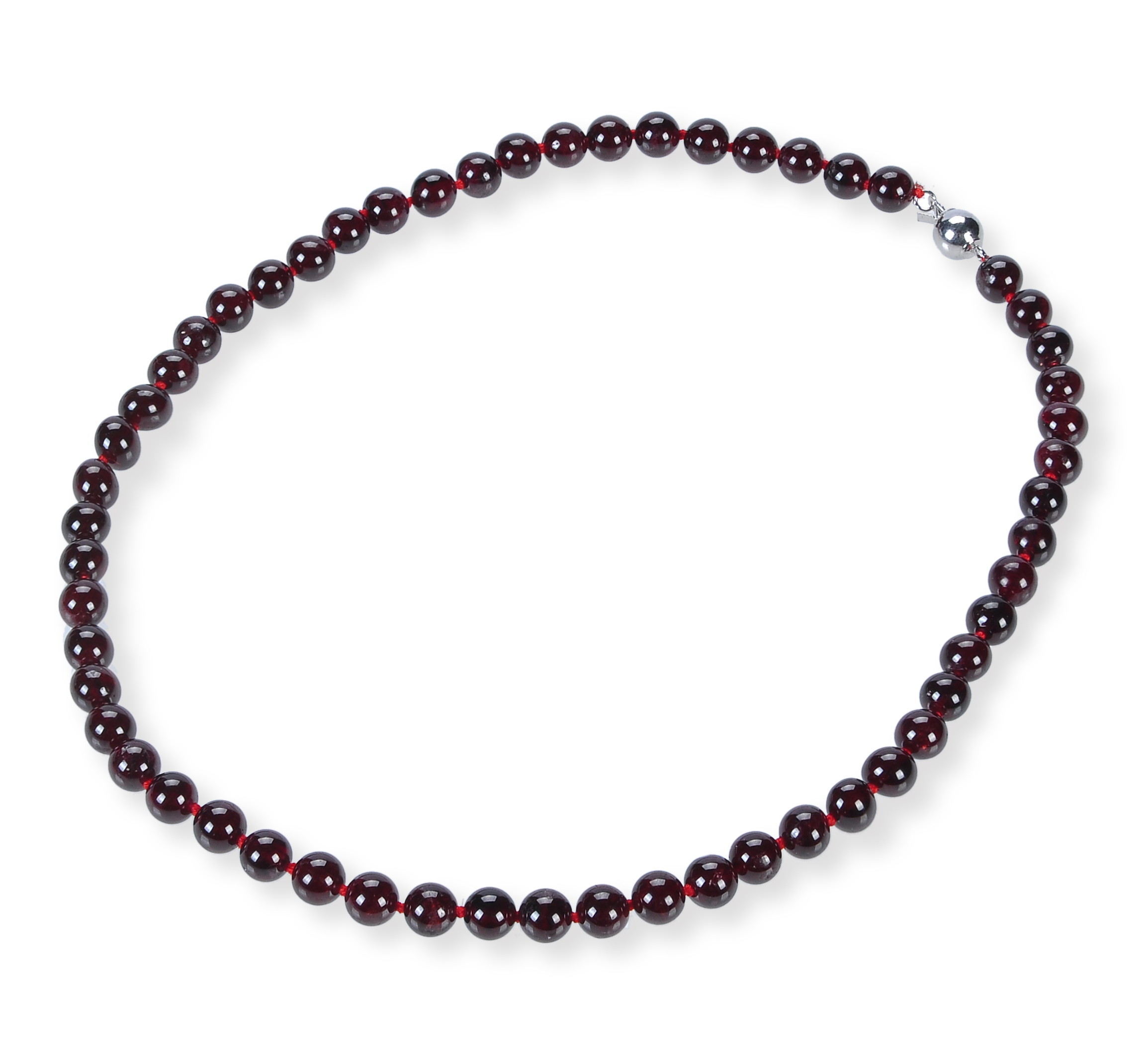7.5 mm Round Garnet Strand Necklace -nk-gn2