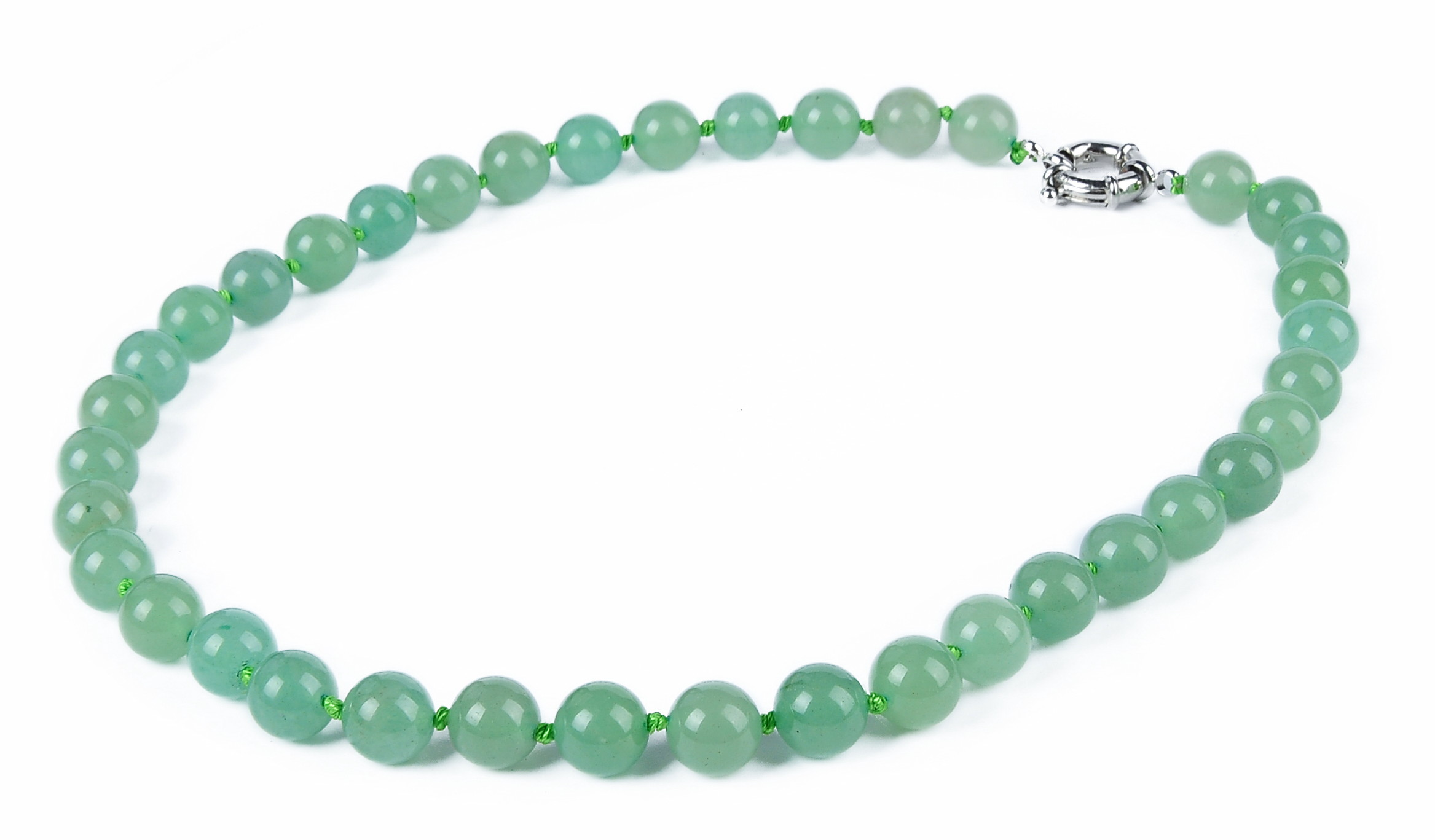 Natural 10mm Green Chinese Aventurine Jade Necklace -nk-jd2