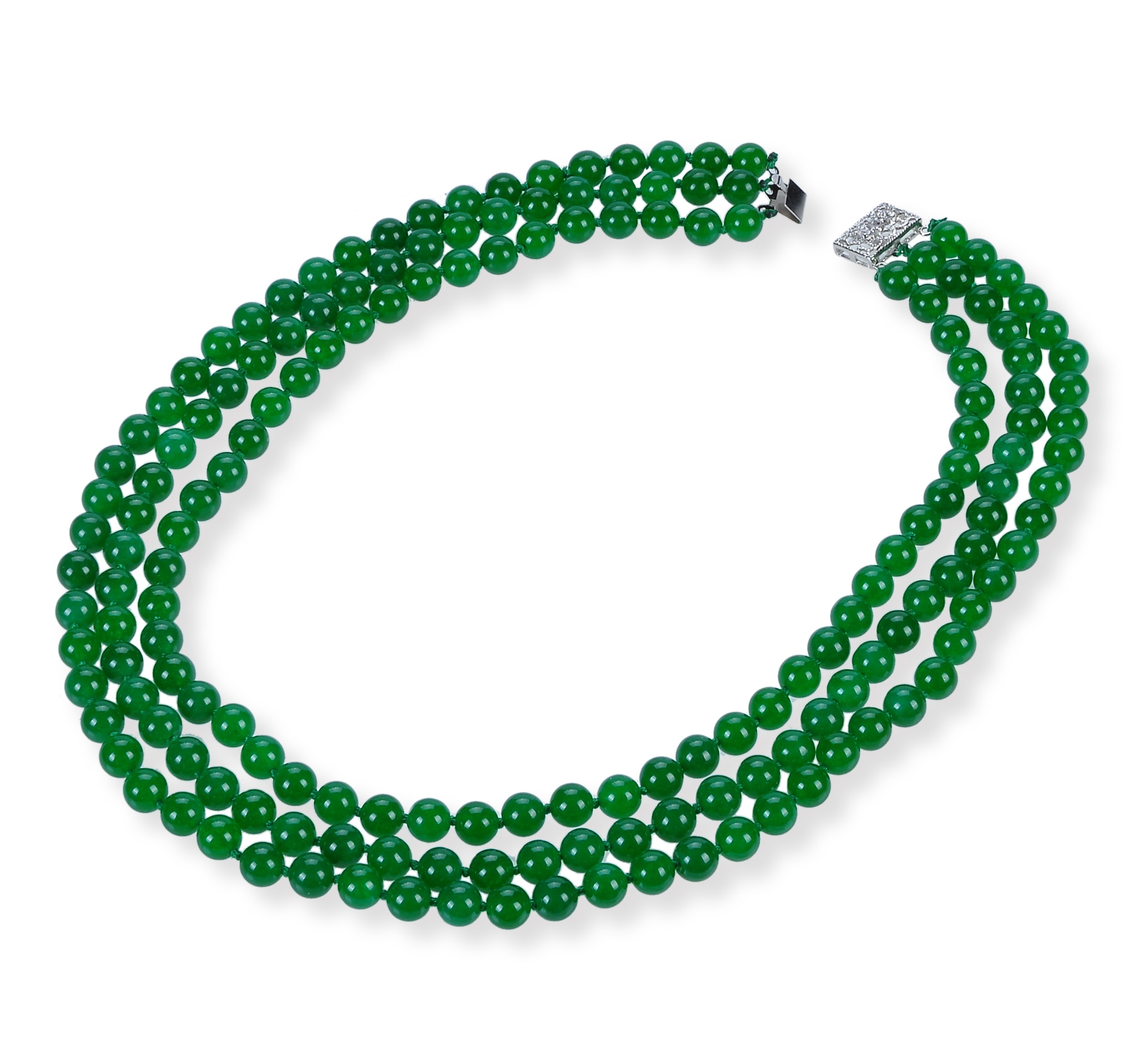 8mm Three Row Green Round Malay Jade Necklace -nk-jd5