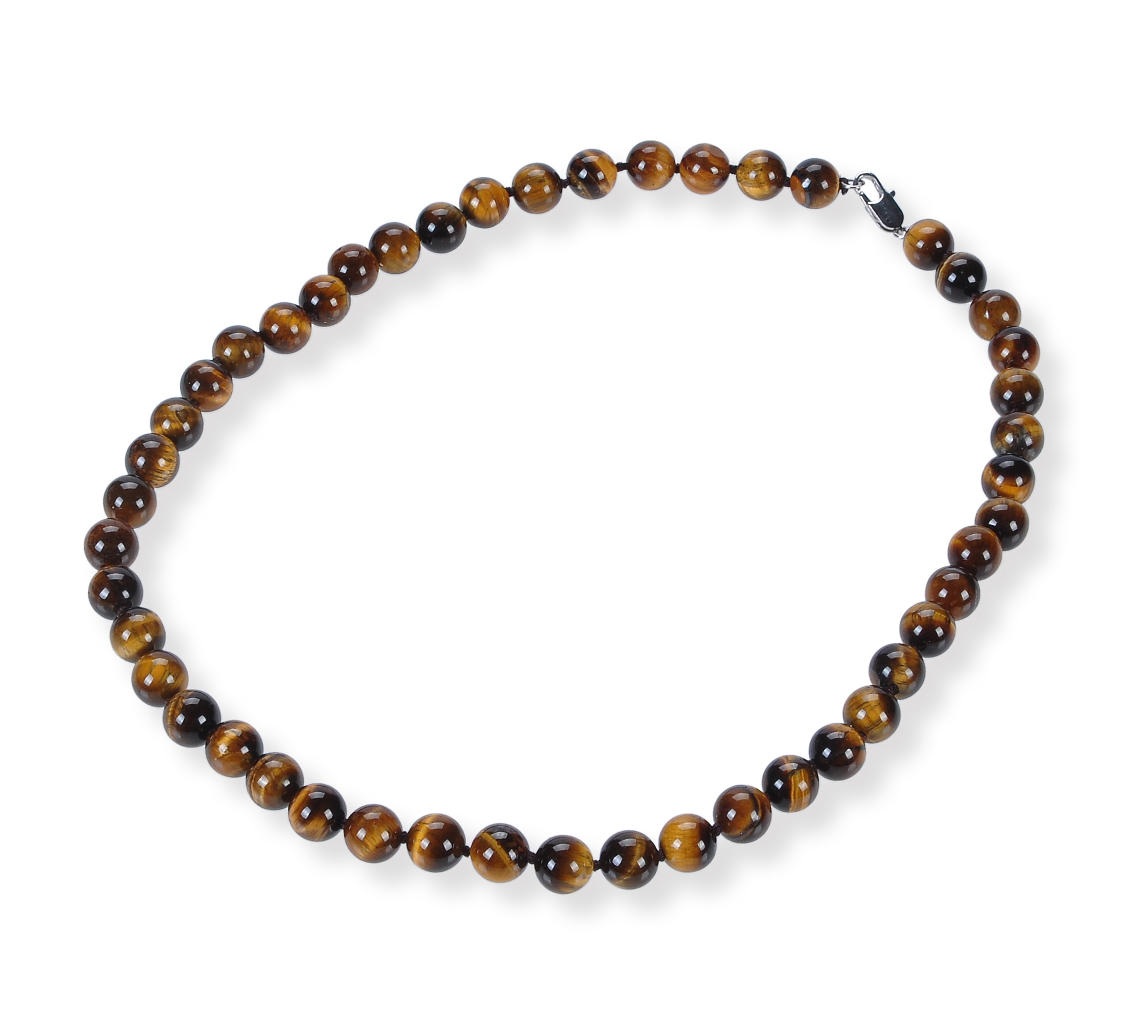 8.5 mm Round Tiger Eye Strand Necklace -nk-te1