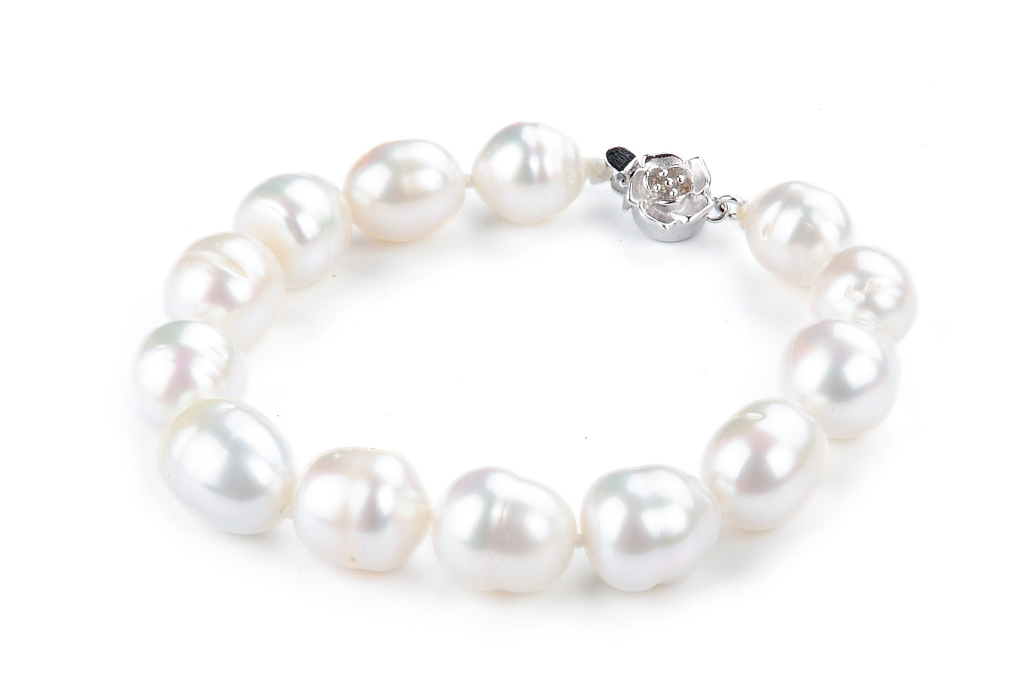 Huge 15X11.5 mm Genuine White South Sea Baroque Pearl Bracelet -br132