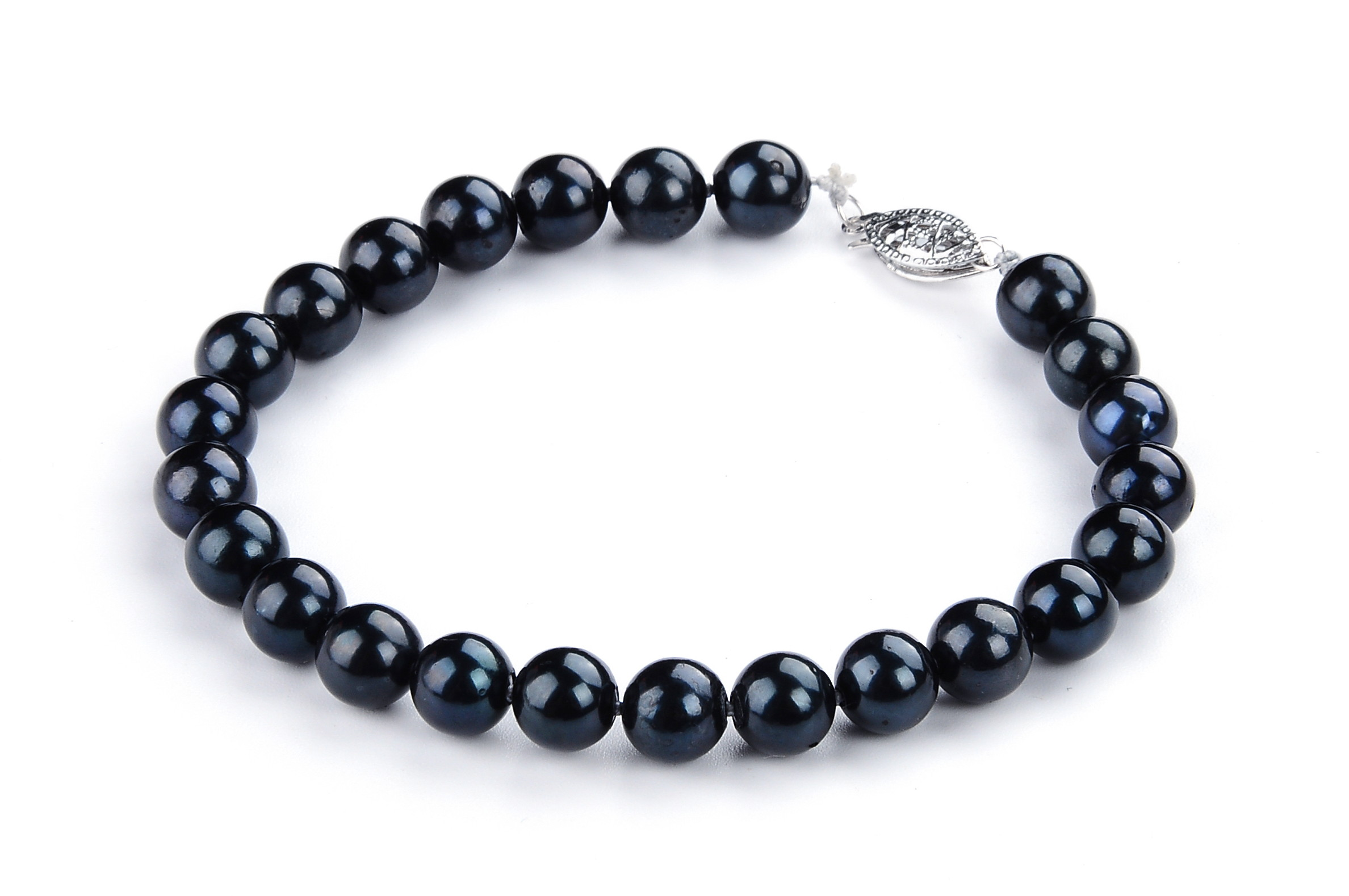 7.5 mm AAA Black  Saltwater Cultured Pearl Bracelet 14K Gold Clasp Sku#: Br15-S7.5