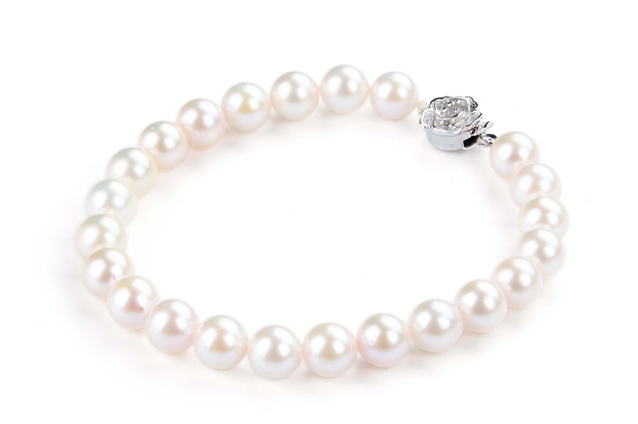 7.5 mm AAA+ White Saltwater Cultured Pearl Bracelet br1A