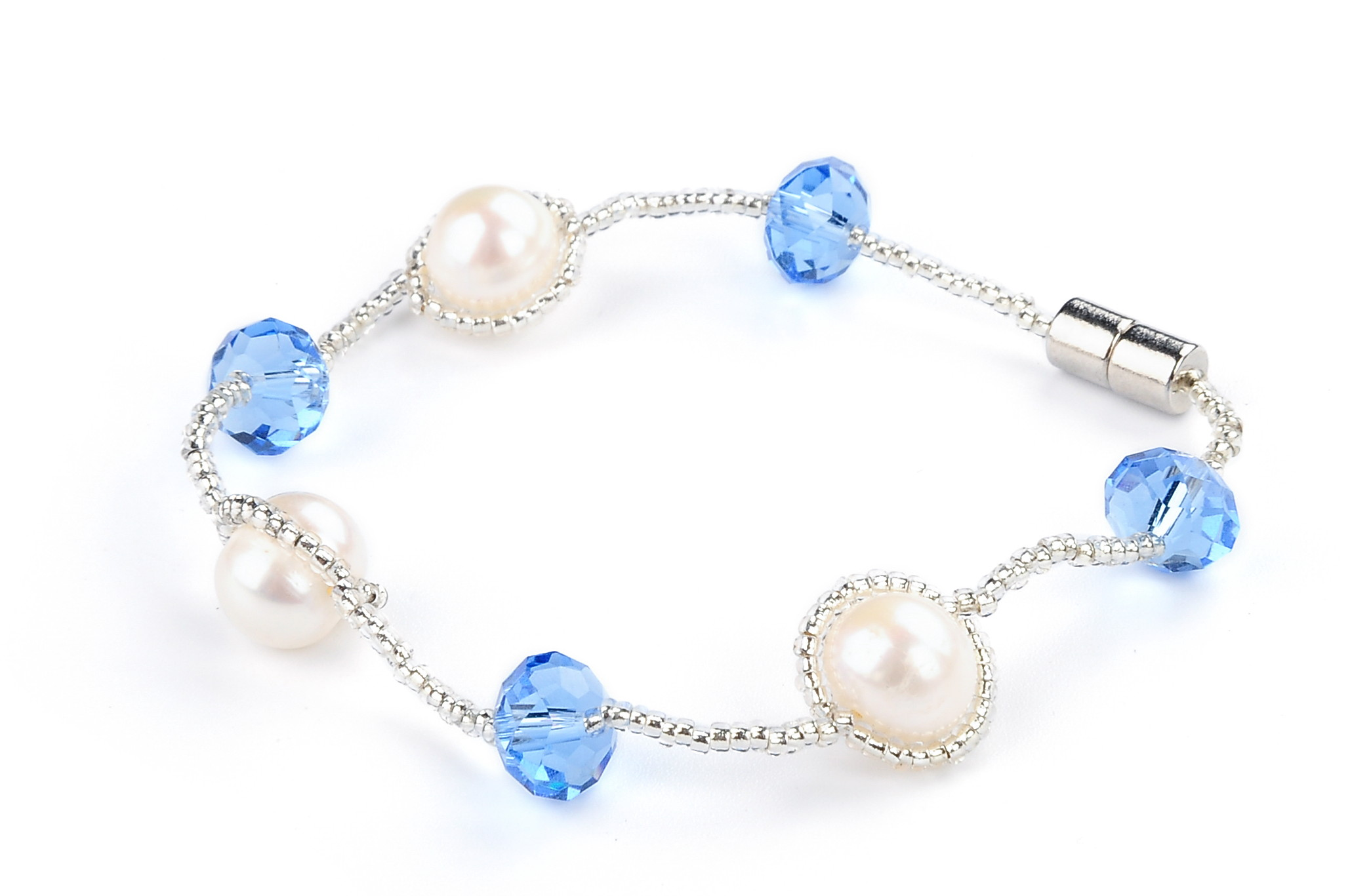 Freshwater White Pearl Blue Crystal Fashion Bracelet -br29