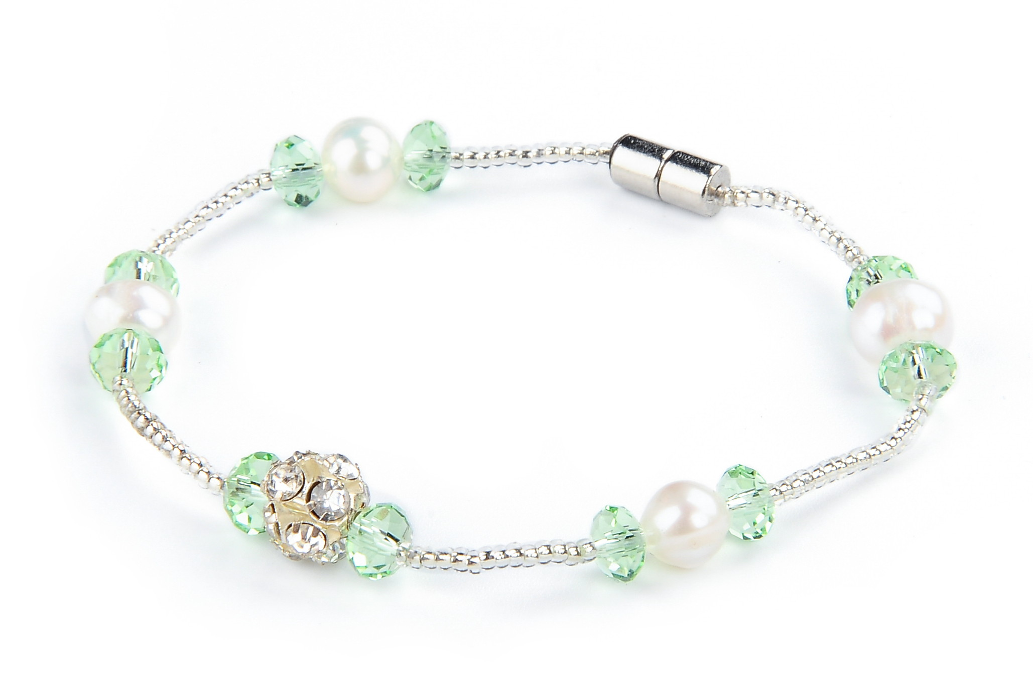 Freshwater White Pearl Green Crystal Fashion Bracelet -br39