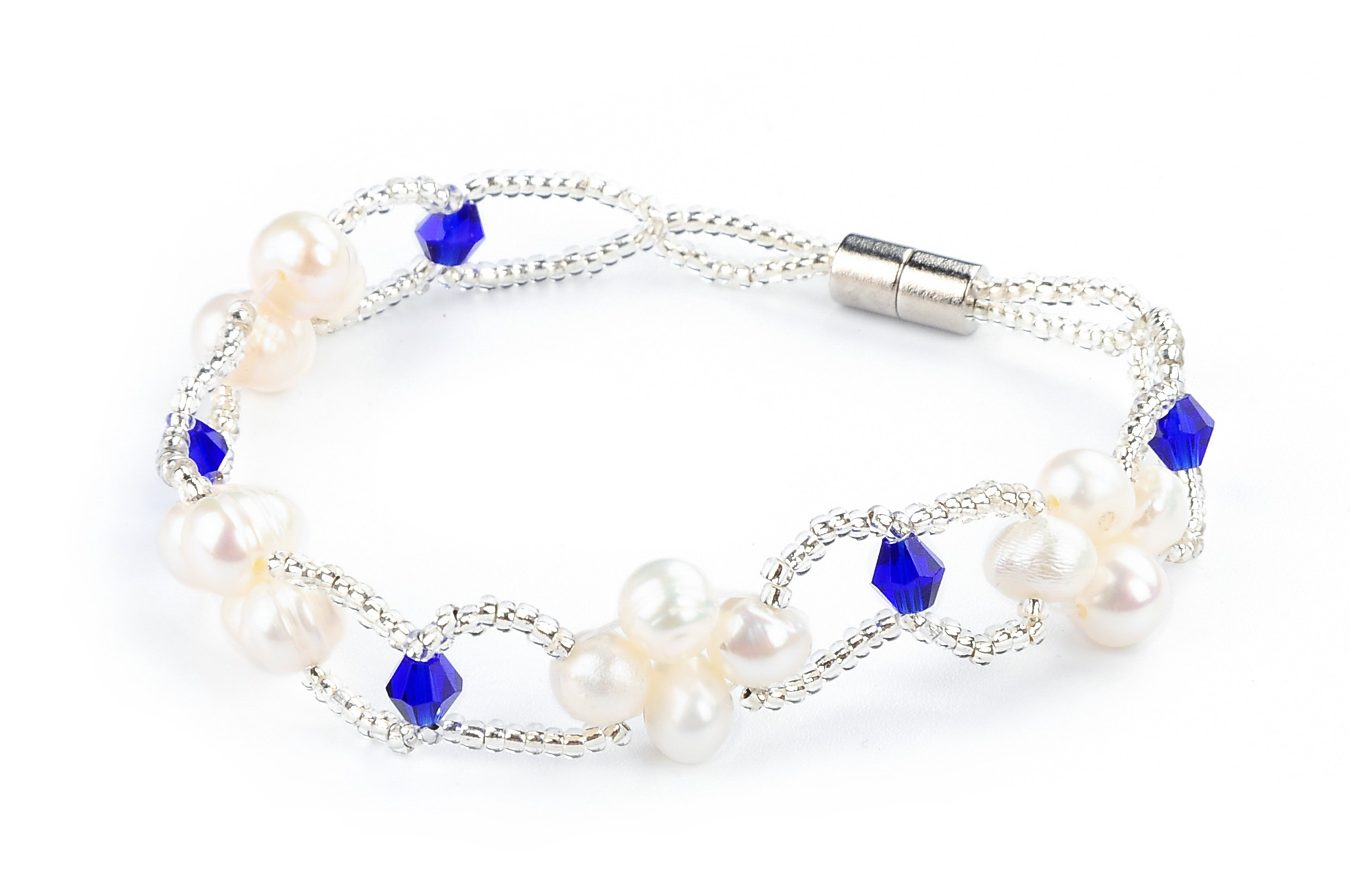 Freshwater White Pearl Dark Blue Crystal Fashion Bracelet -br45