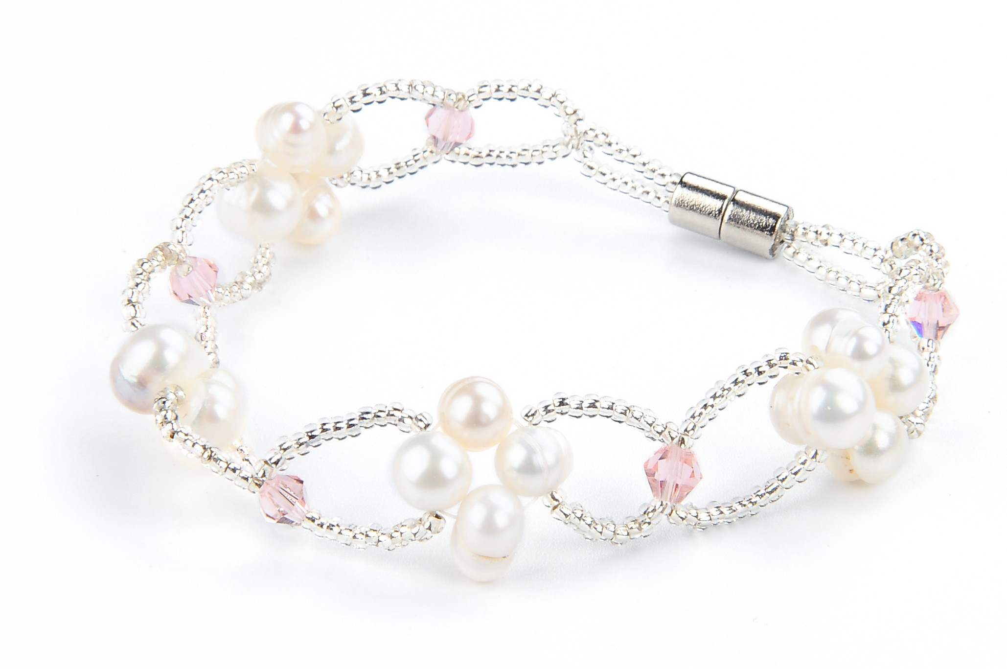 Freshwater White Pearl Pink Crystal Fashion Bracelet -br49