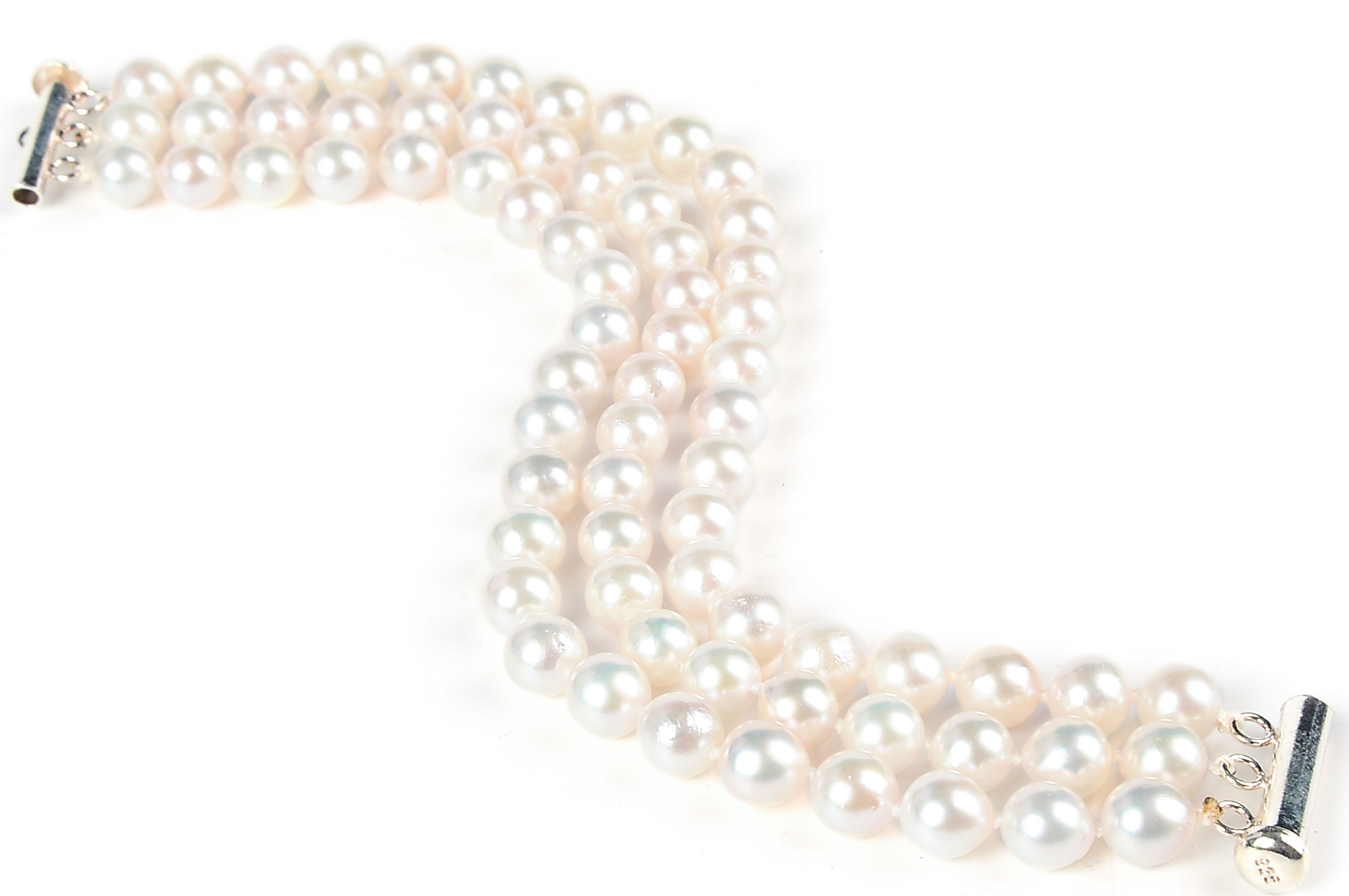 Triple Row 7 mm AAA White Cultured Akoya Pearl bracelet -br5