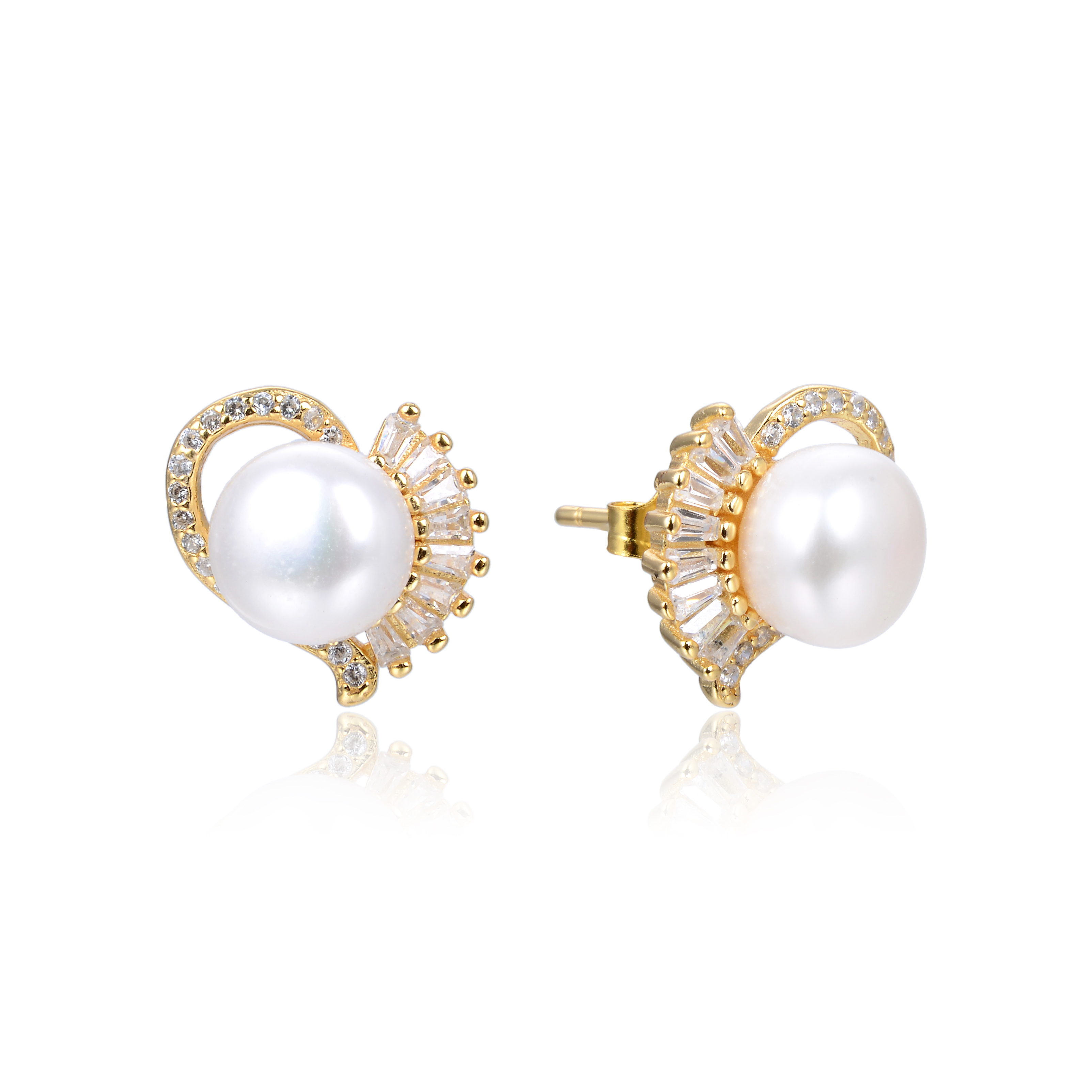 White Freshwater Pearl Yellow Gold Plated 925 Silver Diamond CZ Stud Earrings -er131