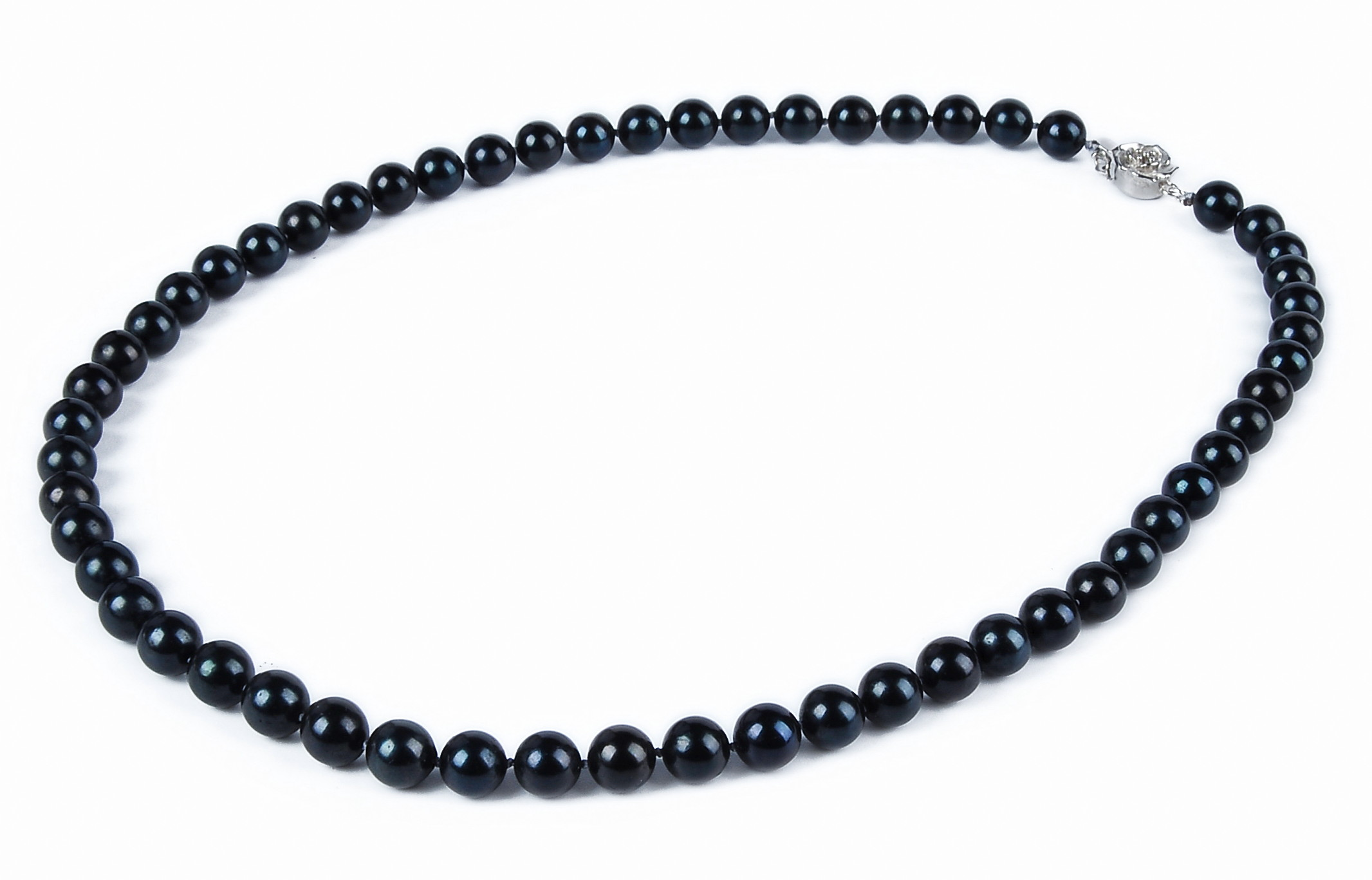 fdf589c8e1eb3a Akoya Pearl Necklace, 8MM AAA- Pure Black Saltwater Cultured Akoya ...
