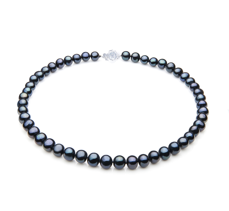 7.5mm AAA Pure Black Saltwater Cultured Akoya Pearl Necklace Sku#: nk117