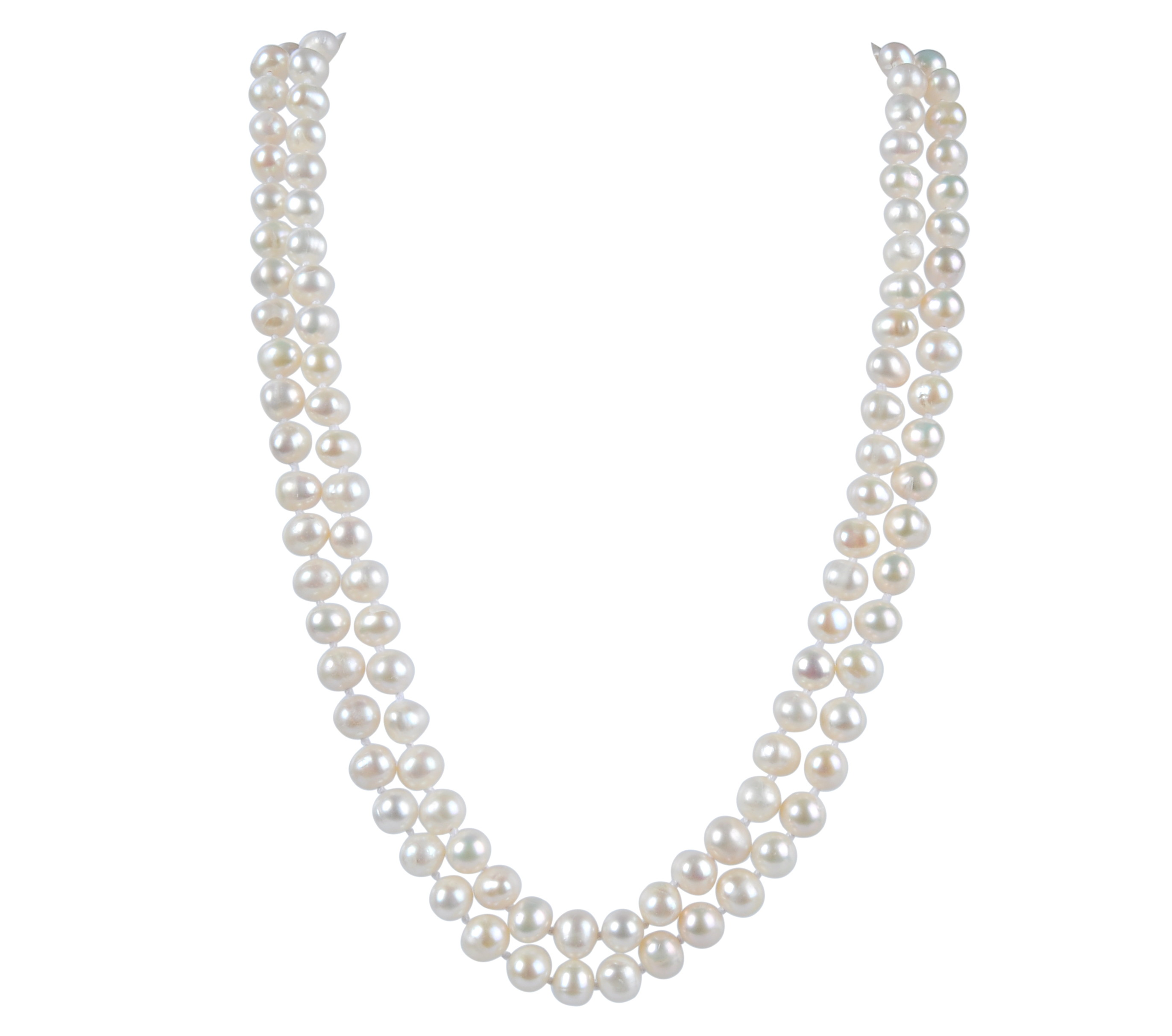7.5 mm AA+ Two Row Freshwater White Pearl Necklace -nk142