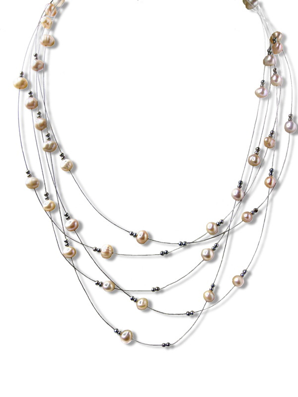 Five Strand Pink Pearl Illusion Necklace -nk147