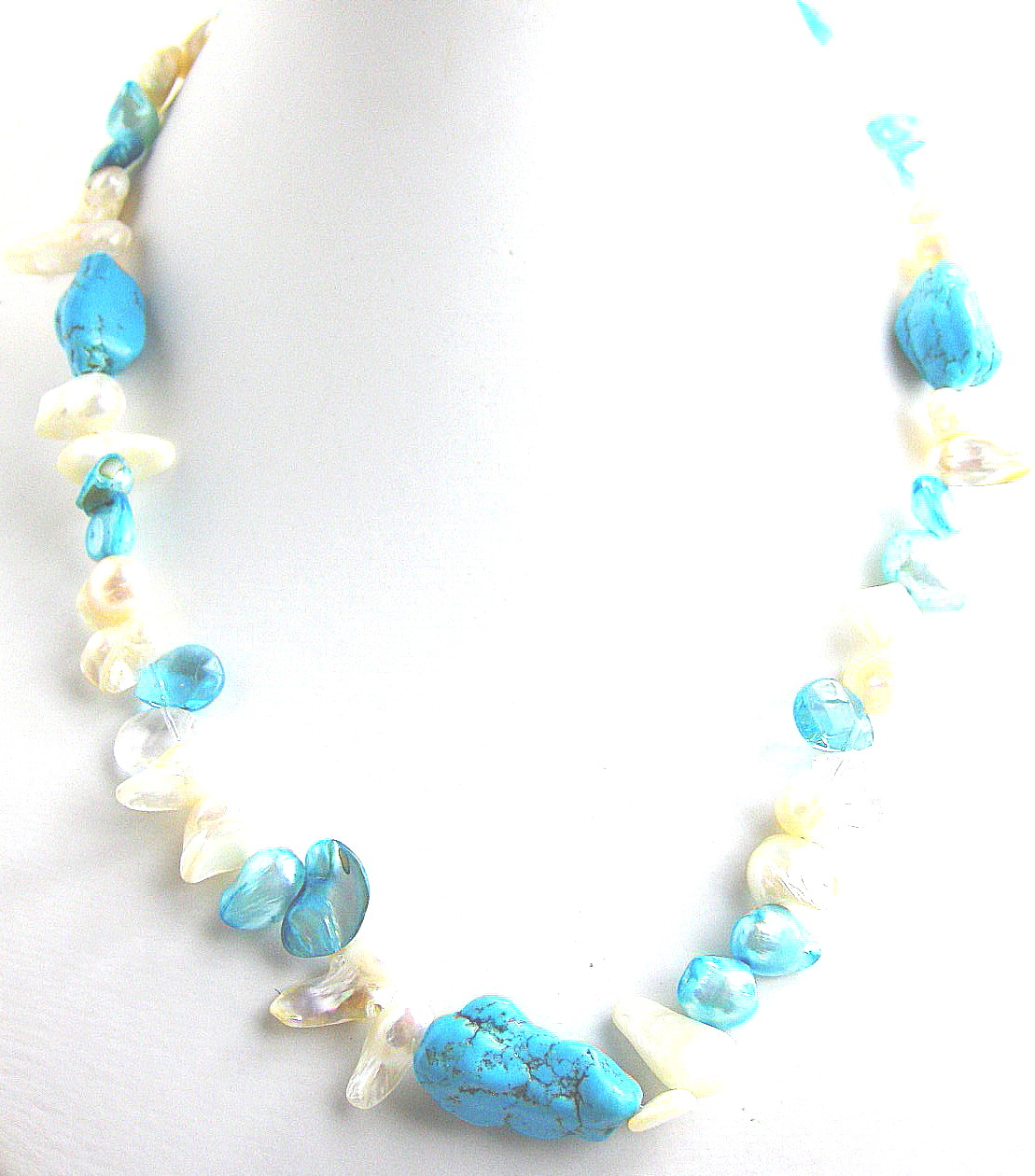 Crystal Turquoise Pearl Bead Necklace -nk153