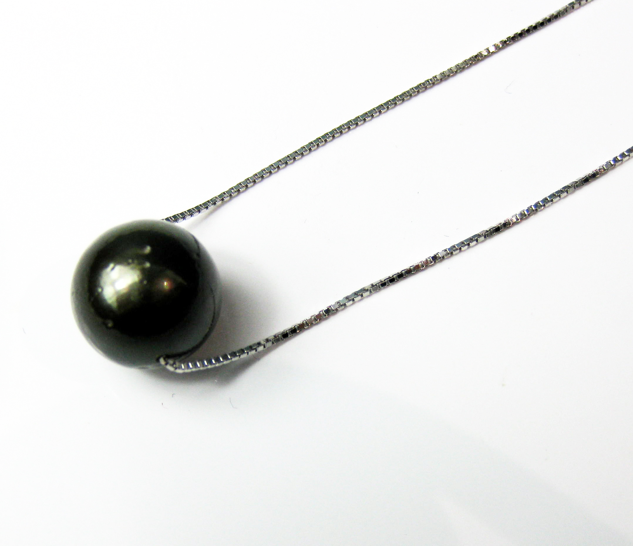 10.5 - 11.5 mm AA- Black Tahitian Pearl Solitaire Necklace 925 silver chain - nk154