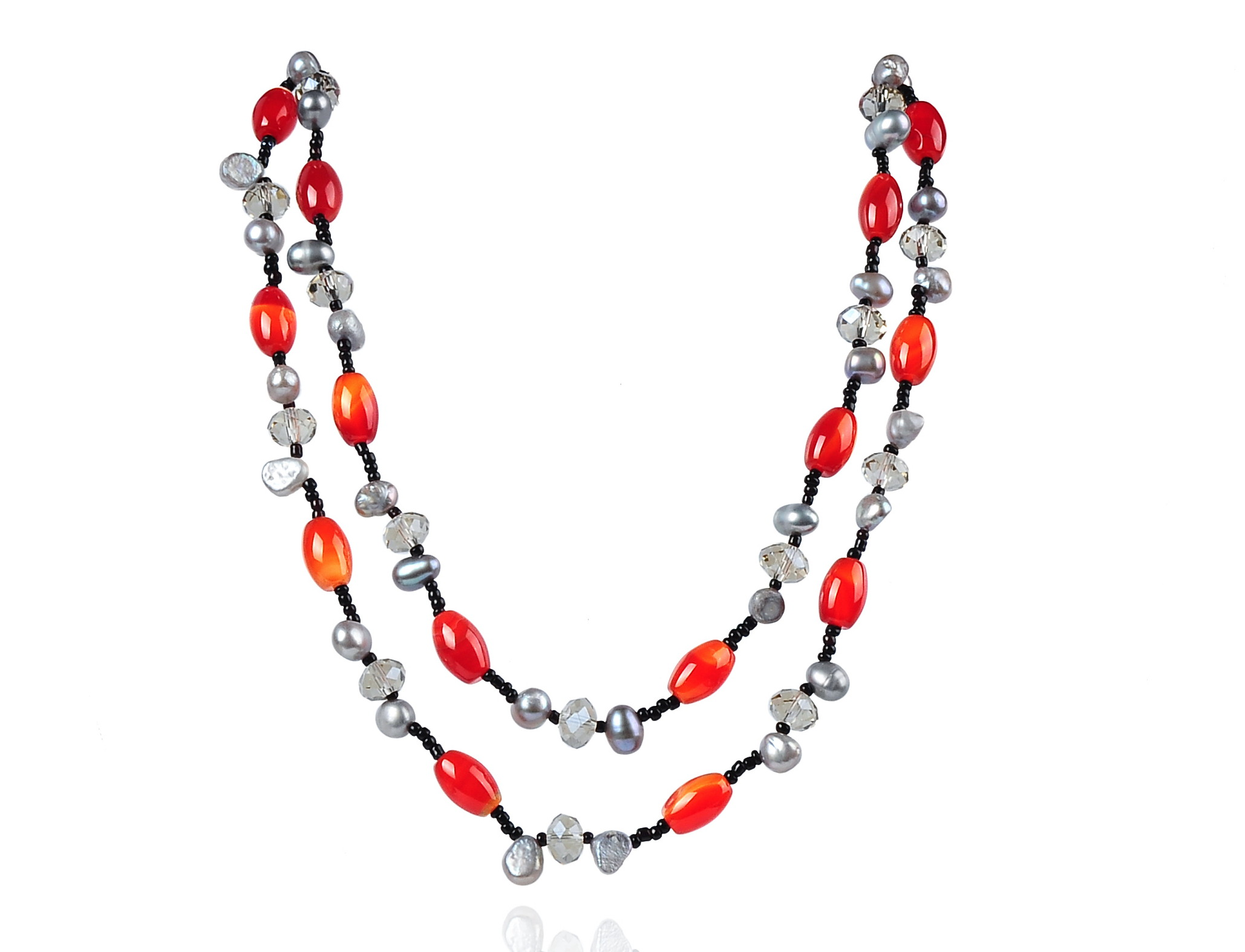 Two Strand Fashion Pearl Crystal Necklace -nk171