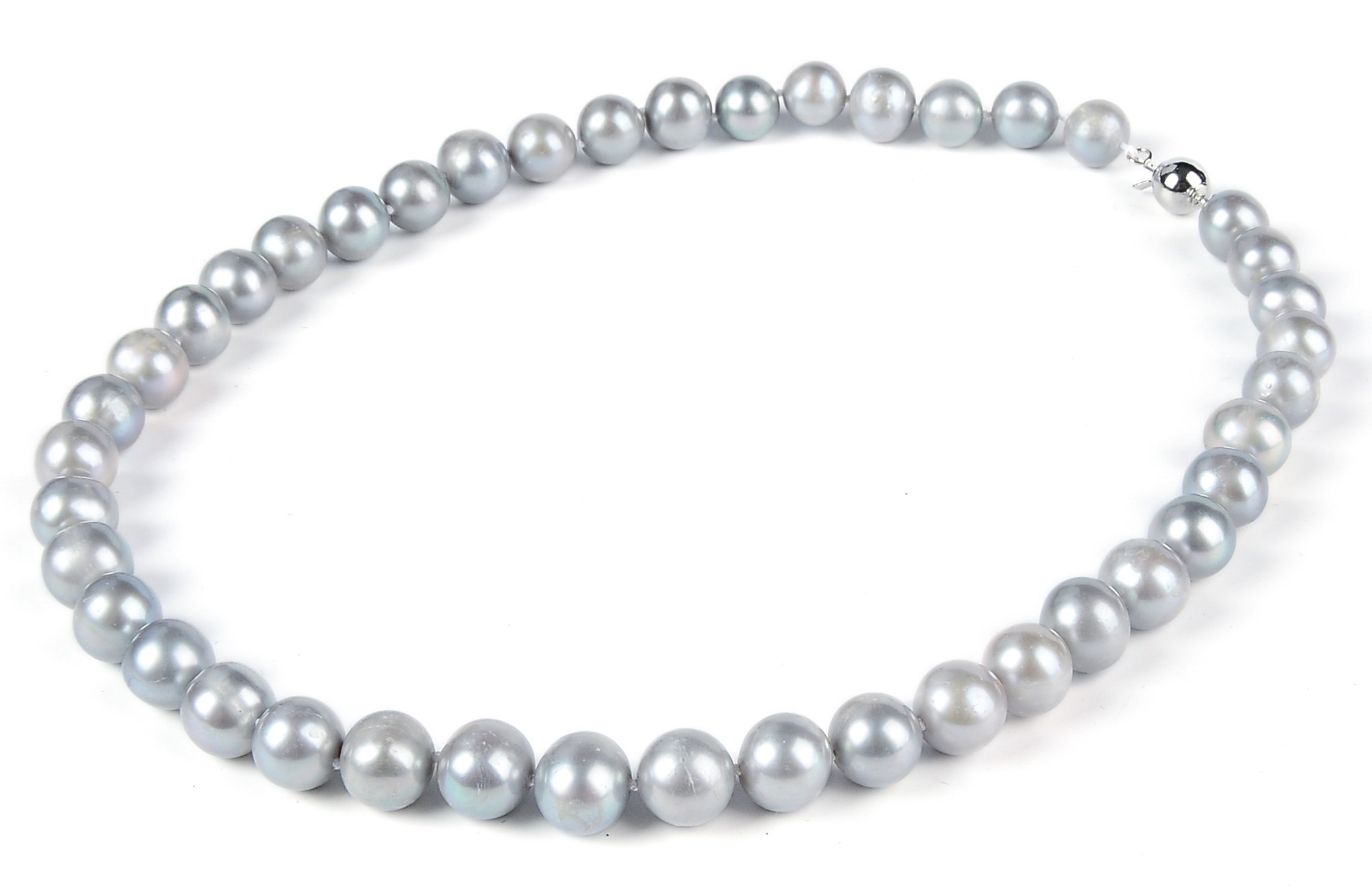 Big 10 mm  Freshwater Gray Pearl Necklace -nk190