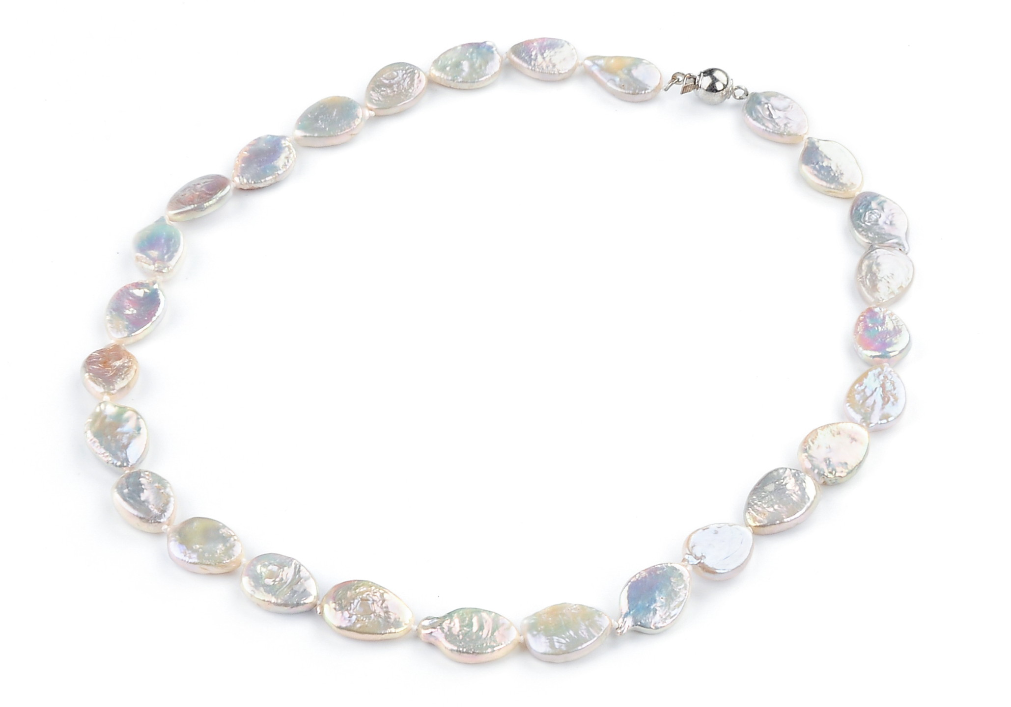 Natural Freshwater Coin Pearl Necklace -nk193