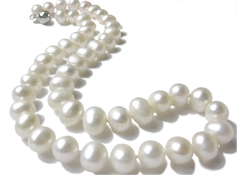 10.5 mm Lustrous  White Pearl Necklace -nk197