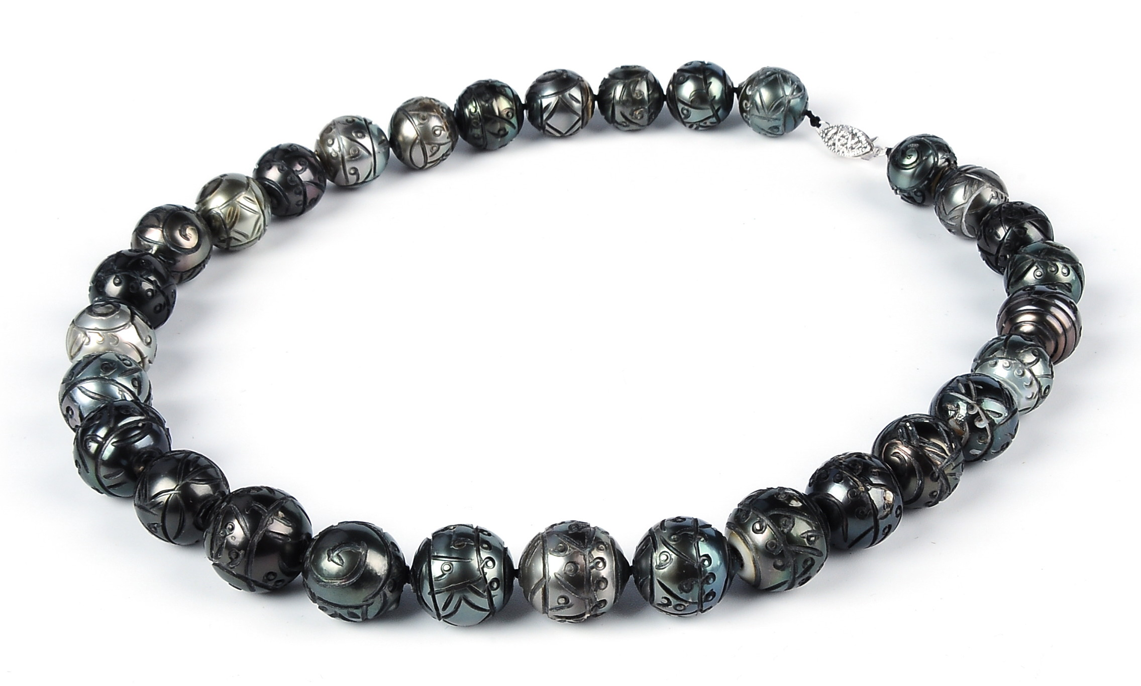 Huge 14.3mm Hand Carved Natural Tahitian Pearl Necklace Strand -nk205