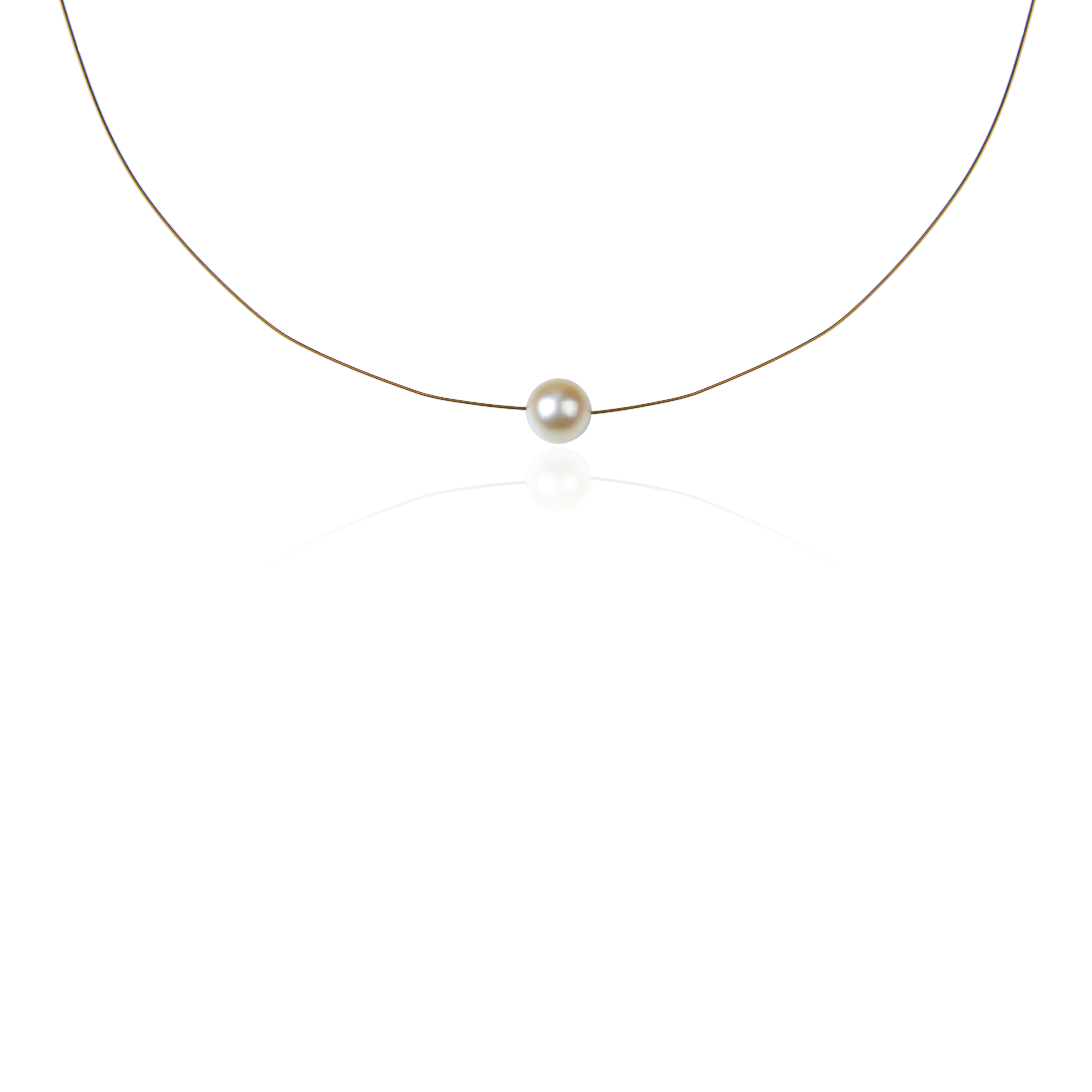 8mm Golden Akoya Cultured Pearl Solitaire Titanium Necklace - nk216