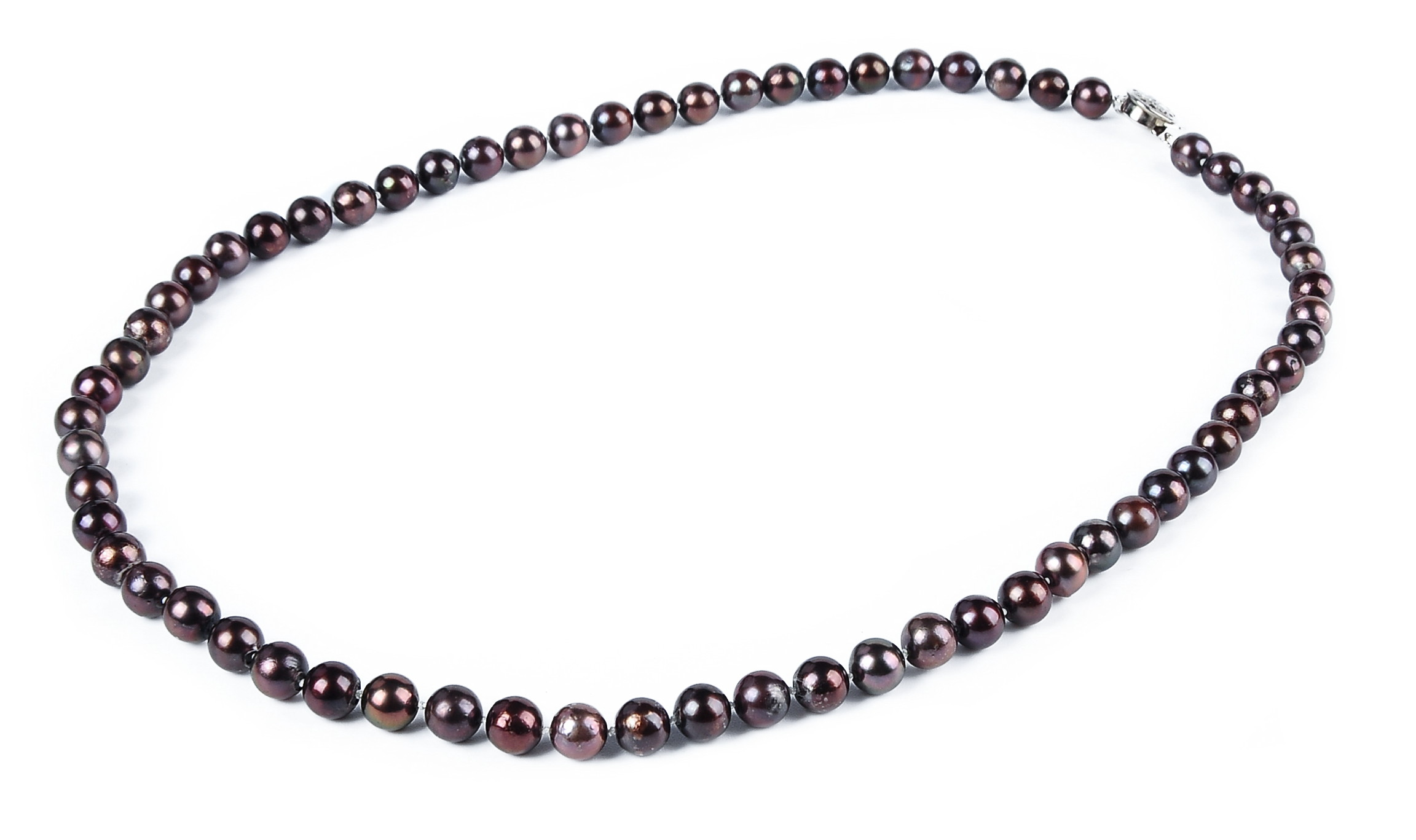 6.5mm AA+ Pinkish Black Akoya Cultured Pearl Necklace Sku#: nk253
