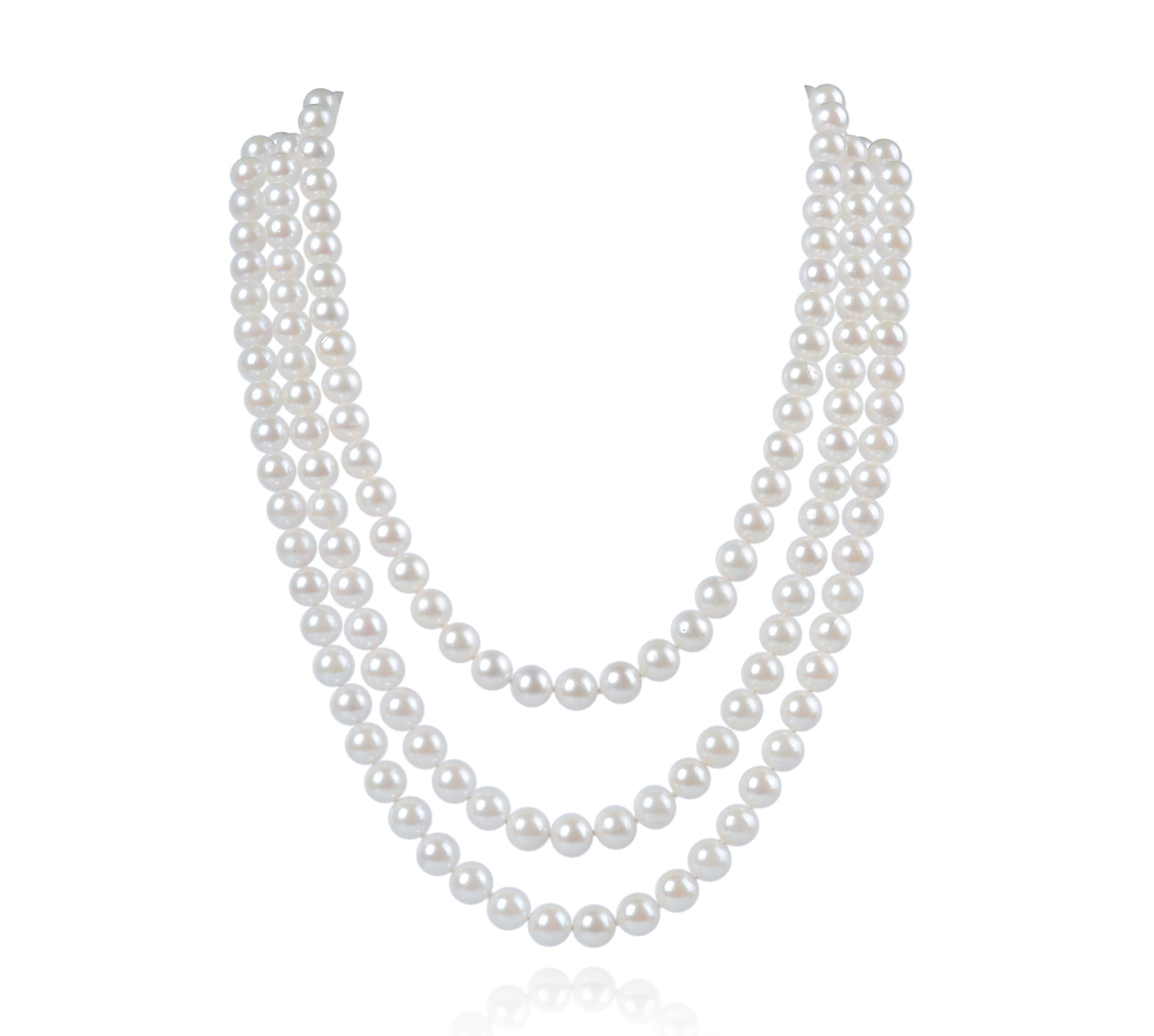 7.5mm Three Strand AAA- White Cultured Akoya Pearl Necklace -nk123